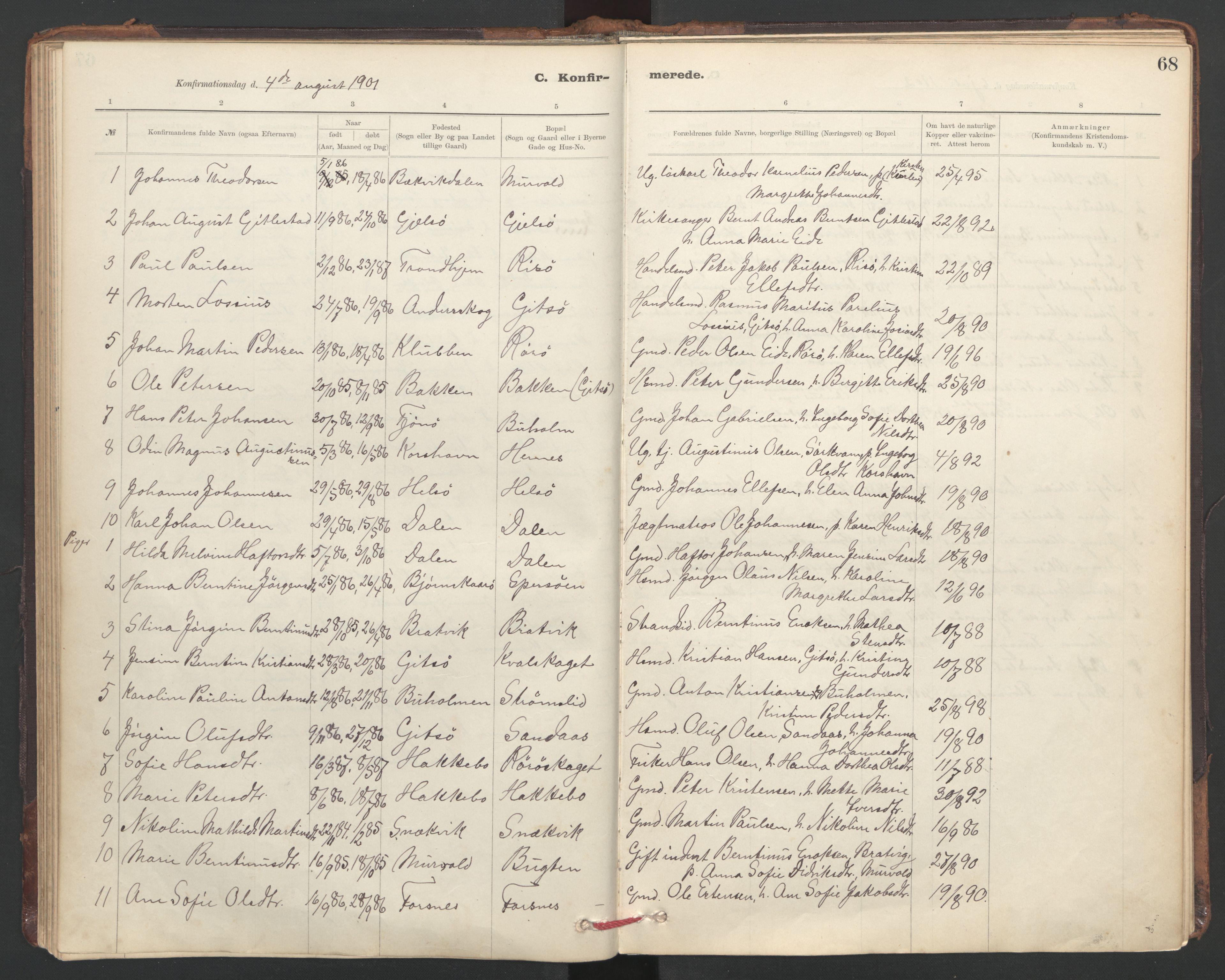 SAT, Ministerialprotokoller, klokkerbøker og fødselsregistre - Sør-Trøndelag, 635/L0552: Ministerialbok nr. 635A02, 1899-1919, s. 68