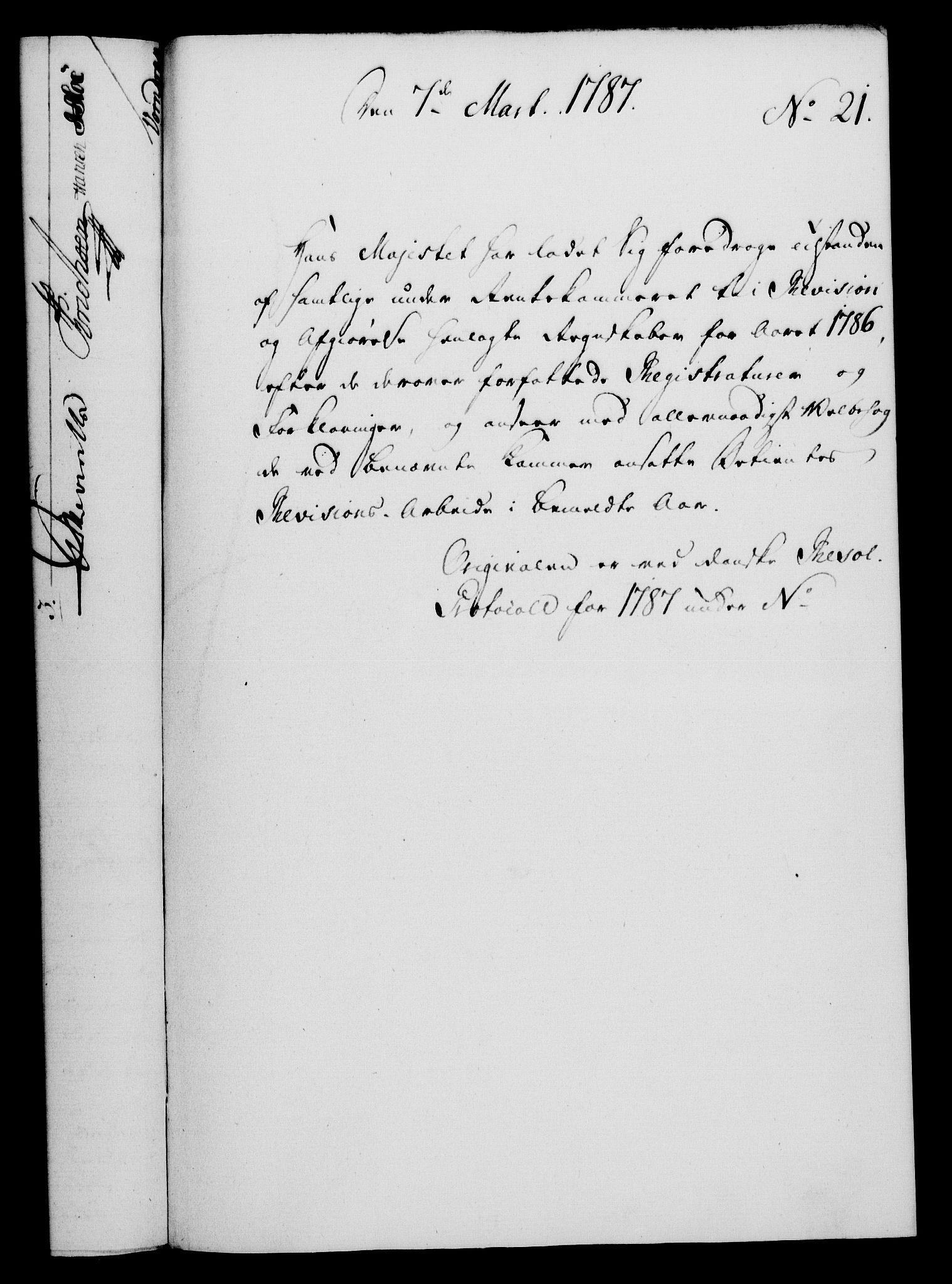 RA, Rentekammeret, Kammerkanselliet, G/Gf/Gfa/L0069: Norsk relasjons- og resolusjonsprotokoll (merket RK 52.69), 1787, s. 184