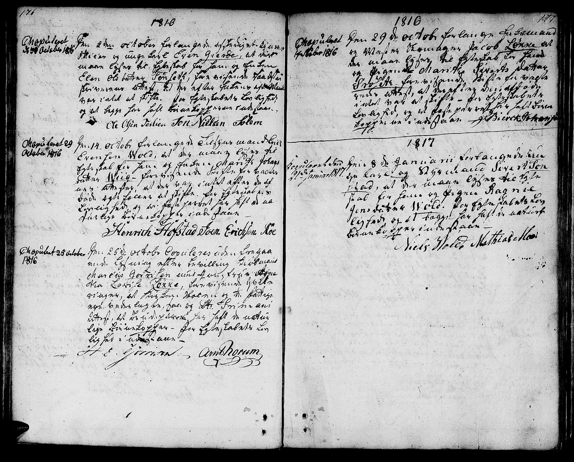 SAT, Ministerialprotokoller, klokkerbøker og fødselsregistre - Sør-Trøndelag, 601/L0042: Ministerialbok nr. 601A10, 1802-1830, s. 176-177