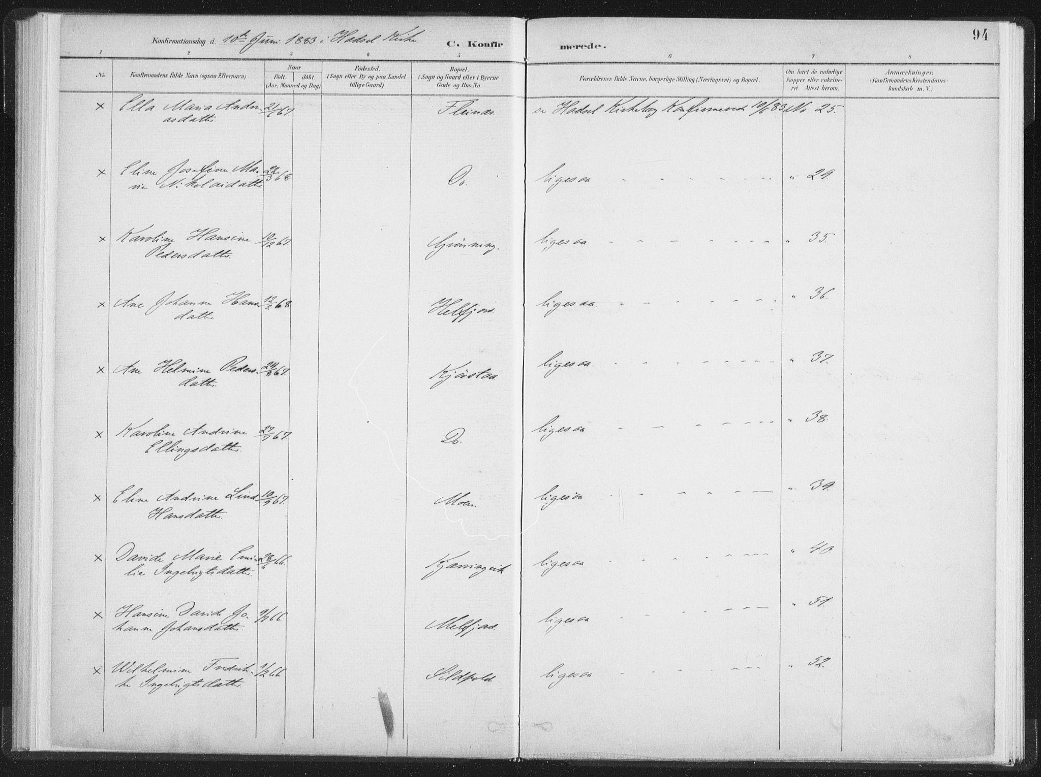 SAT, Ministerialprotokoller, klokkerbøker og fødselsregistre - Nordland, 890/L1286: Ministerialbok nr. 890A01, 1882-1902, s. 94