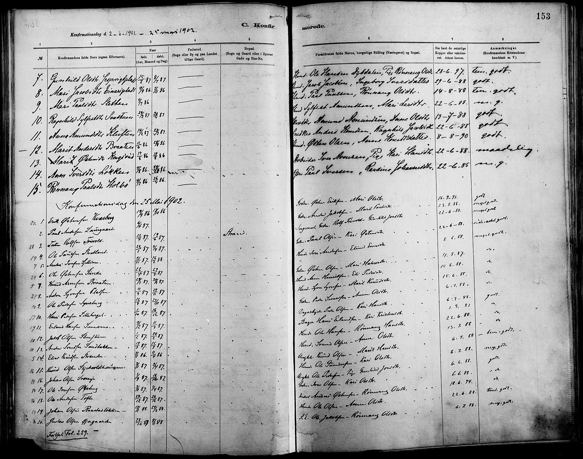 SAH, Vågå prestekontor, Ministerialbok nr. 9, 1886-1904, s. 153