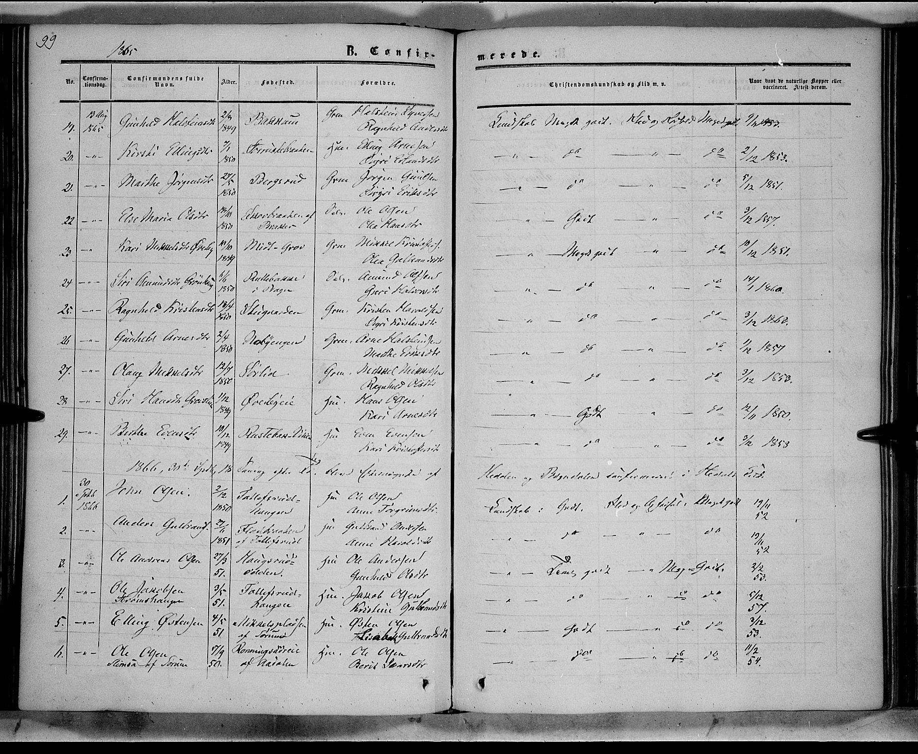 SAH, Sør-Aurdal prestekontor, Ministerialbok nr. 7, 1849-1876, s. 99