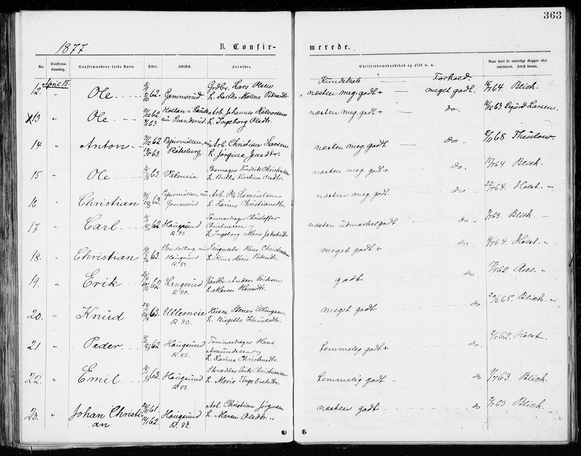SAKO, Eiker kirkebøker, G/Ga/L0004: Klokkerbok nr. I 4, 1877-1877, s. 363