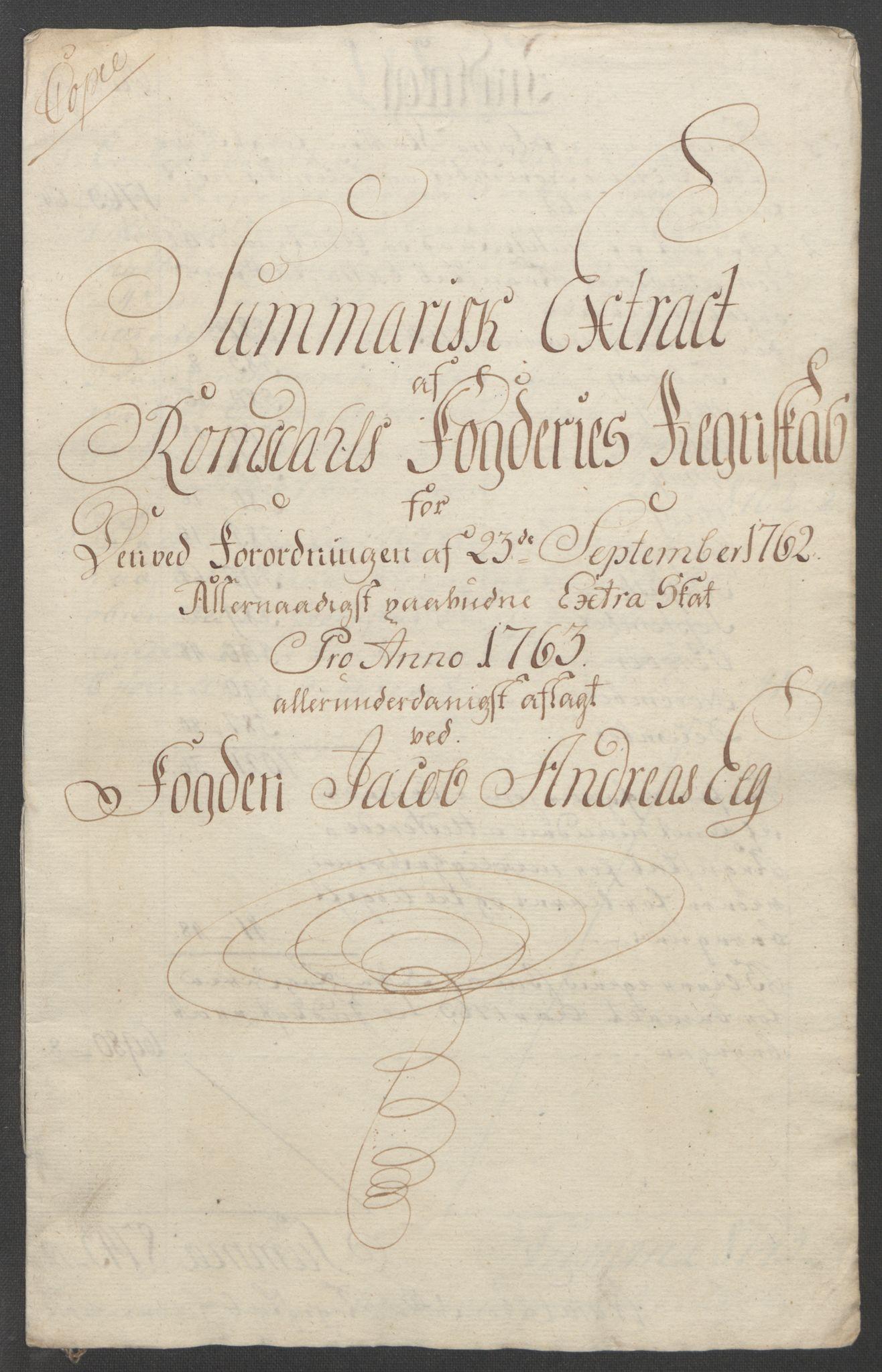 RA, Rentekammeret inntil 1814, Reviderte regnskaper, Fogderegnskap, R55/L3730: Ekstraskatten Romsdal, 1762-1763, s. 358
