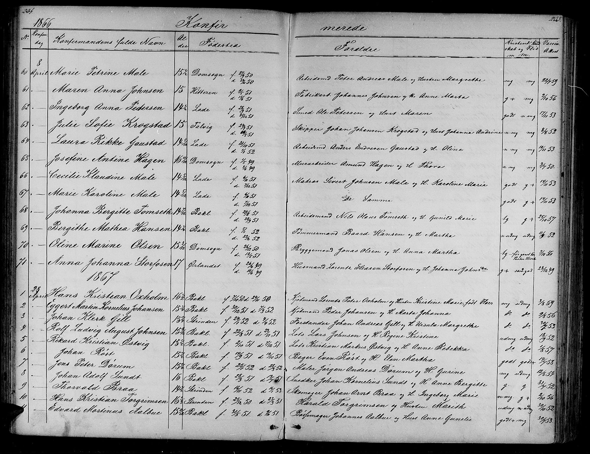SAT, Ministerialprotokoller, klokkerbøker og fødselsregistre - Sør-Trøndelag, 604/L0219: Klokkerbok nr. 604C02, 1851-1869, s. 234-235
