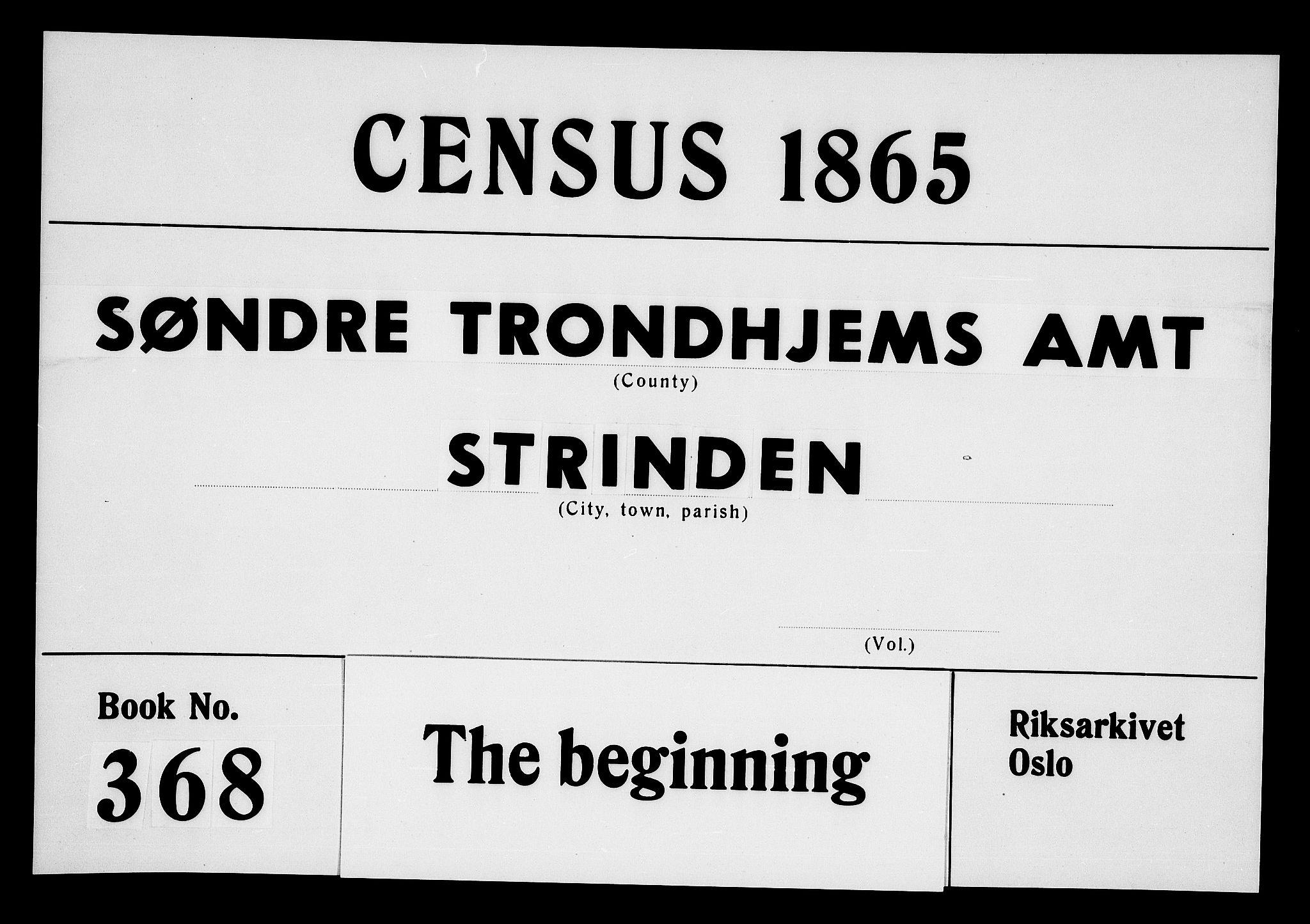 RA, Folketelling 1865 for 1660P Strinda prestegjeld, 1865, s. 1