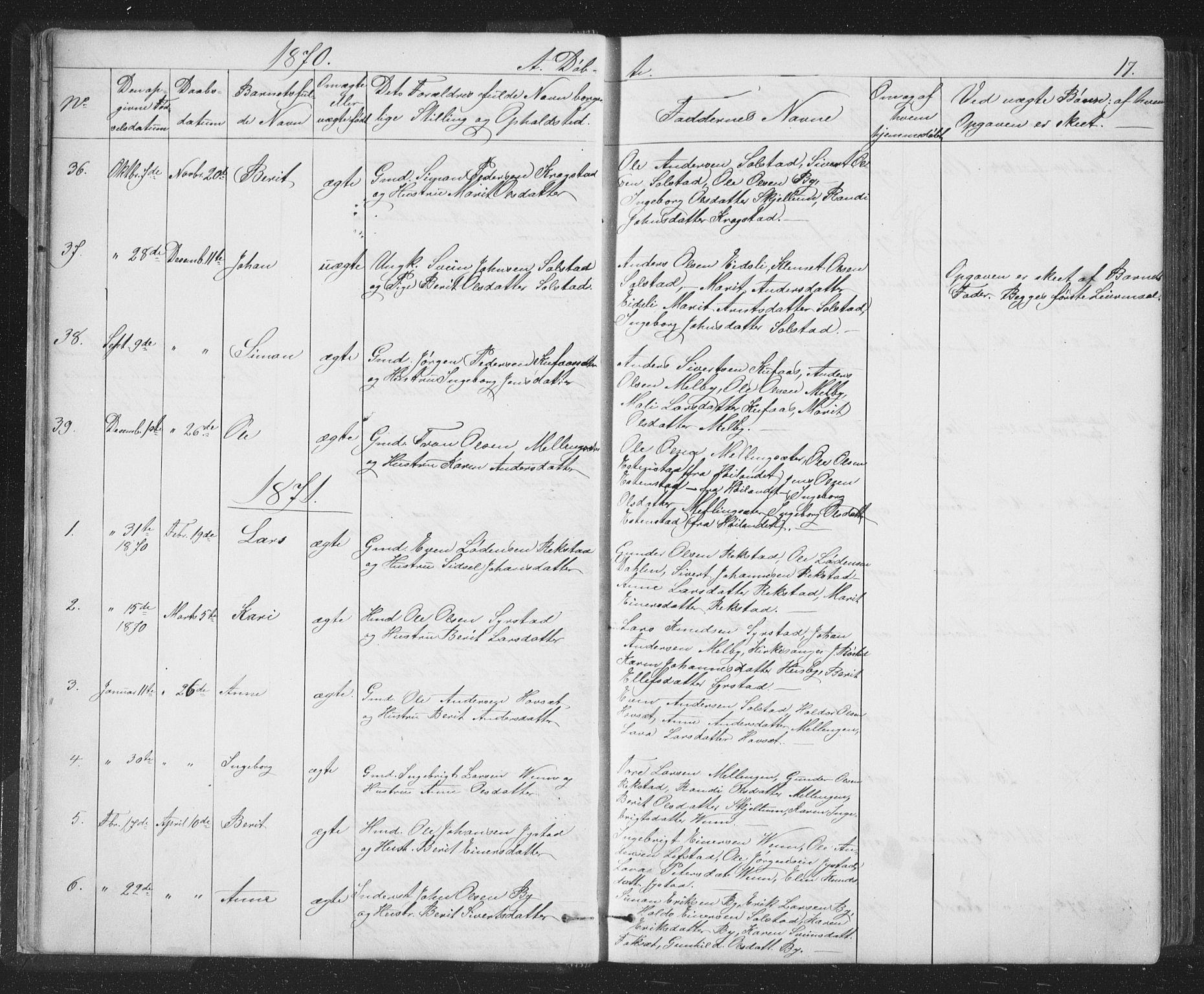 SAT, Ministerialprotokoller, klokkerbøker og fødselsregistre - Sør-Trøndelag, 667/L0798: Klokkerbok nr. 667C03, 1867-1929, s. 17