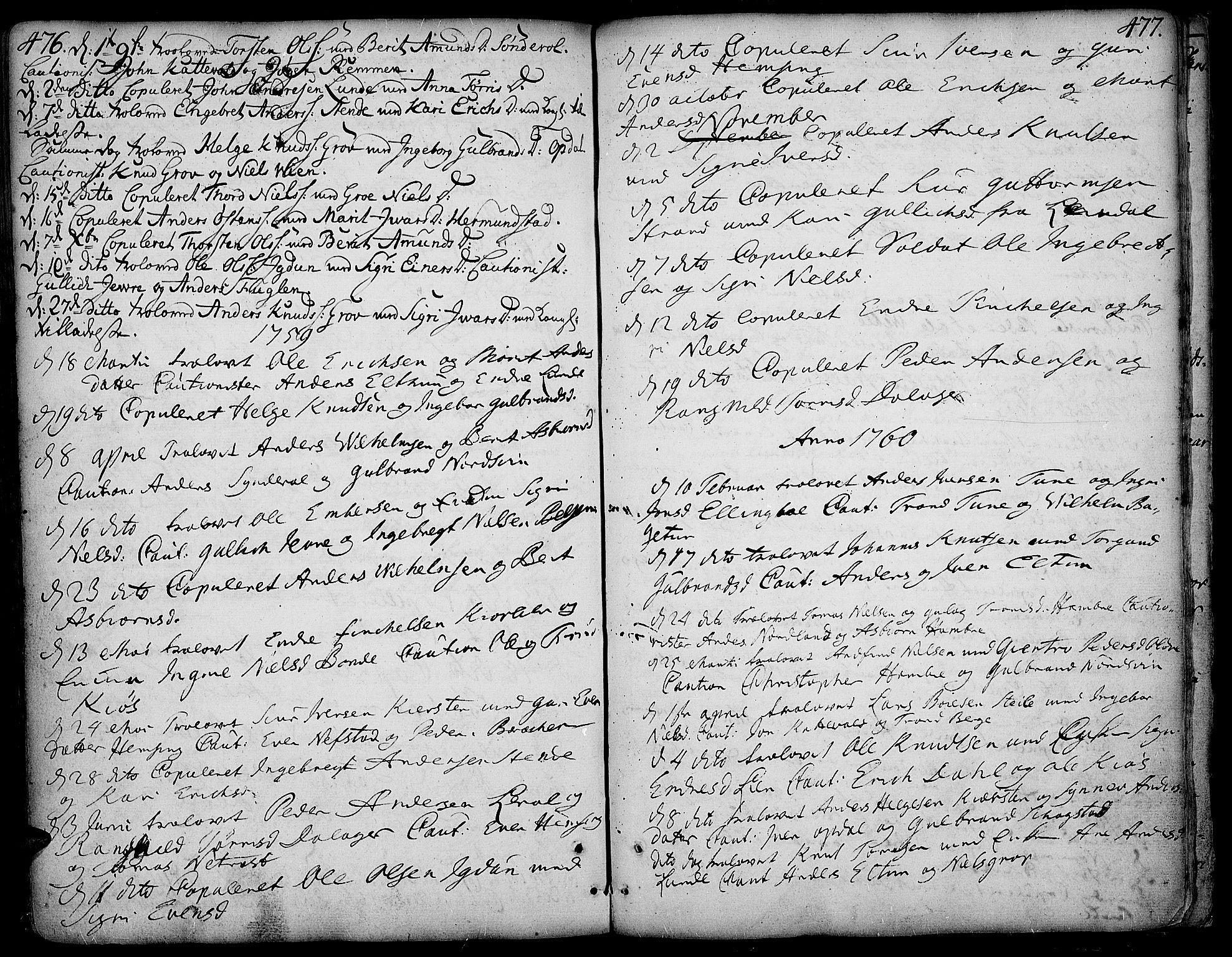 SAH, Vang prestekontor, Valdres, Ministerialbok nr. 1, 1730-1796, s. 476-477
