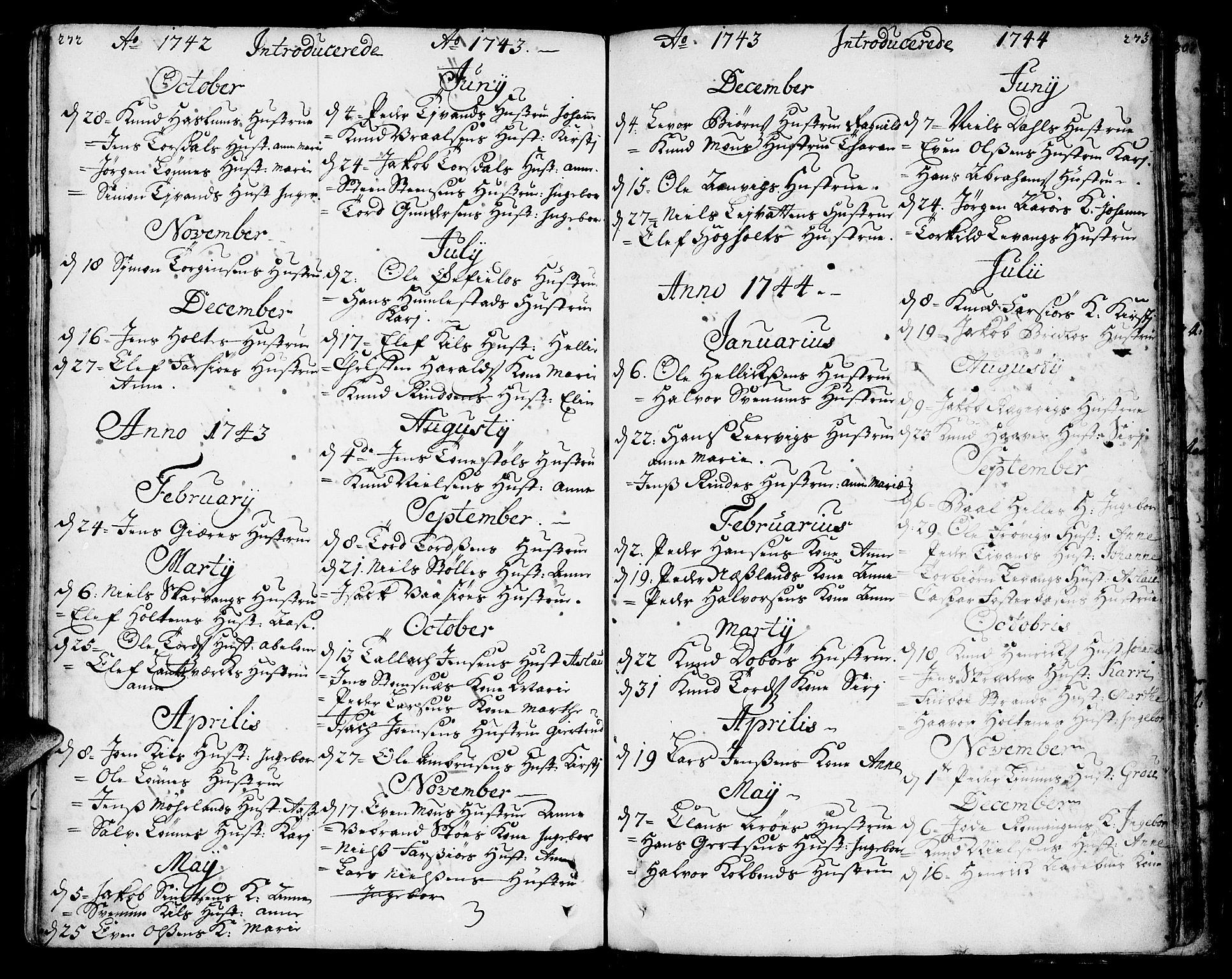 SAKO, Sannidal kirkebøker, F/Fa/L0001: Ministerialbok nr. 1, 1702-1766, s. 272-273