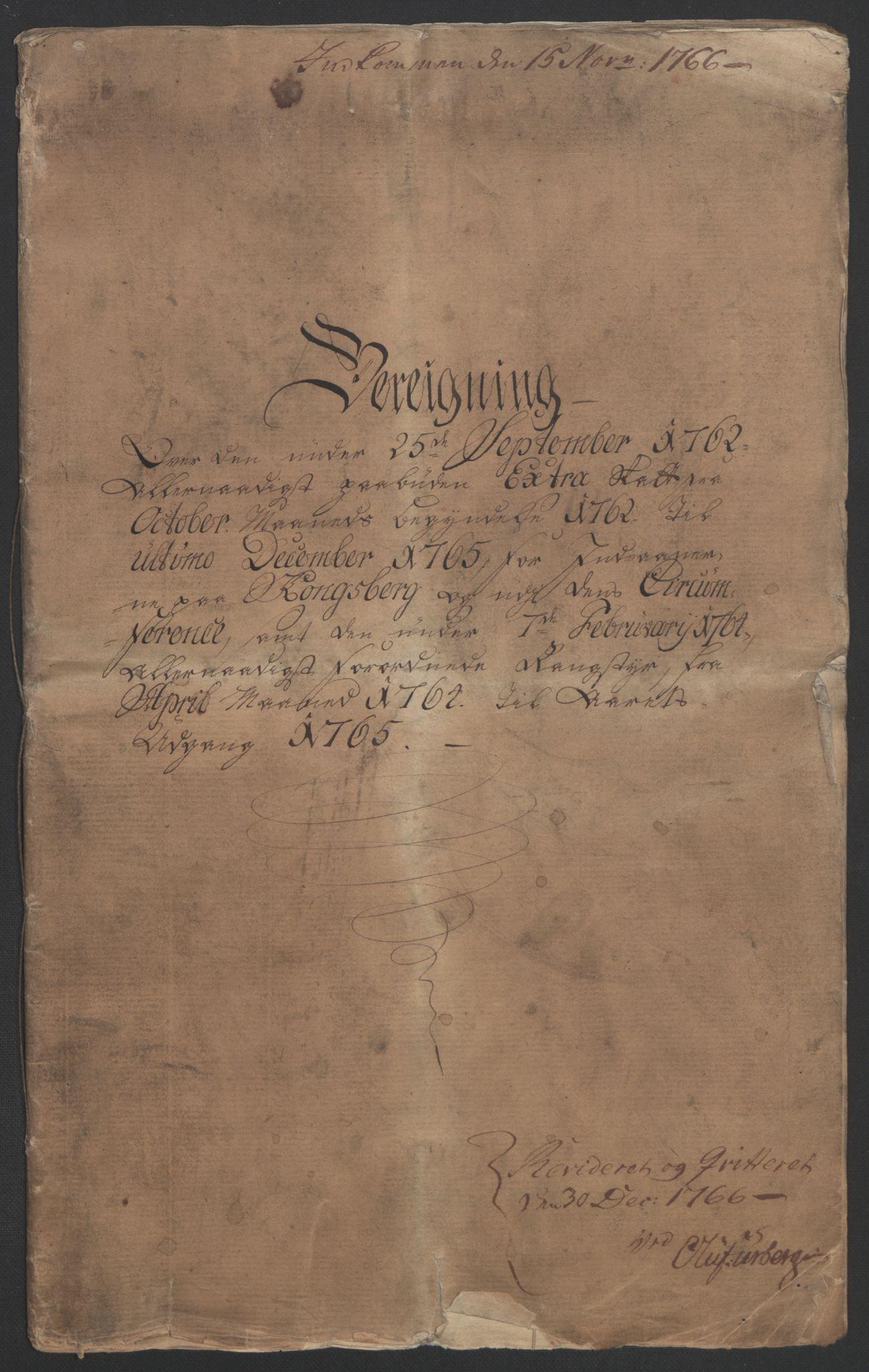 RA, Rentekammeret inntil 1814, Reviderte regnskaper, Bergverksregnskaper, R/Rc/Rca/L0843: Ekstraskatt, 1762-1765, s. 5