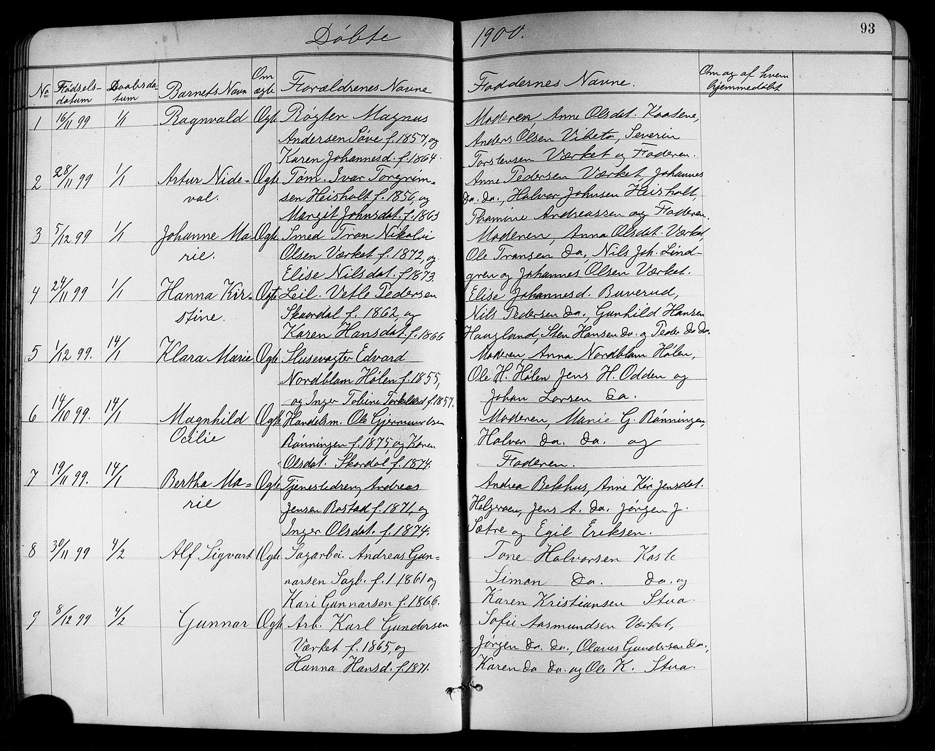 SAKO, Holla kirkebøker, G/Ga/L0005: Klokkerbok nr. I 5, 1891-1917, s. 93