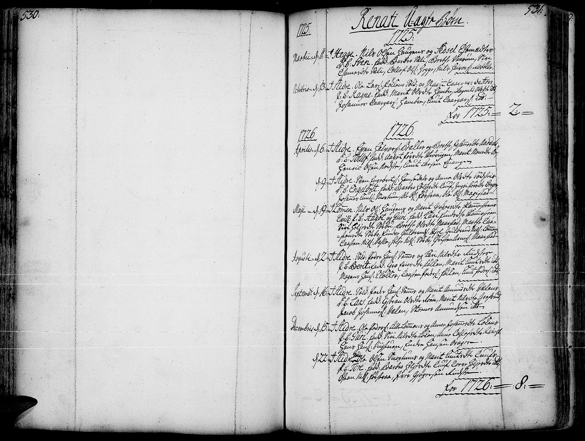 SAH, Slidre prestekontor, Ministerialbok nr. 1, 1724-1814, s. 530-531
