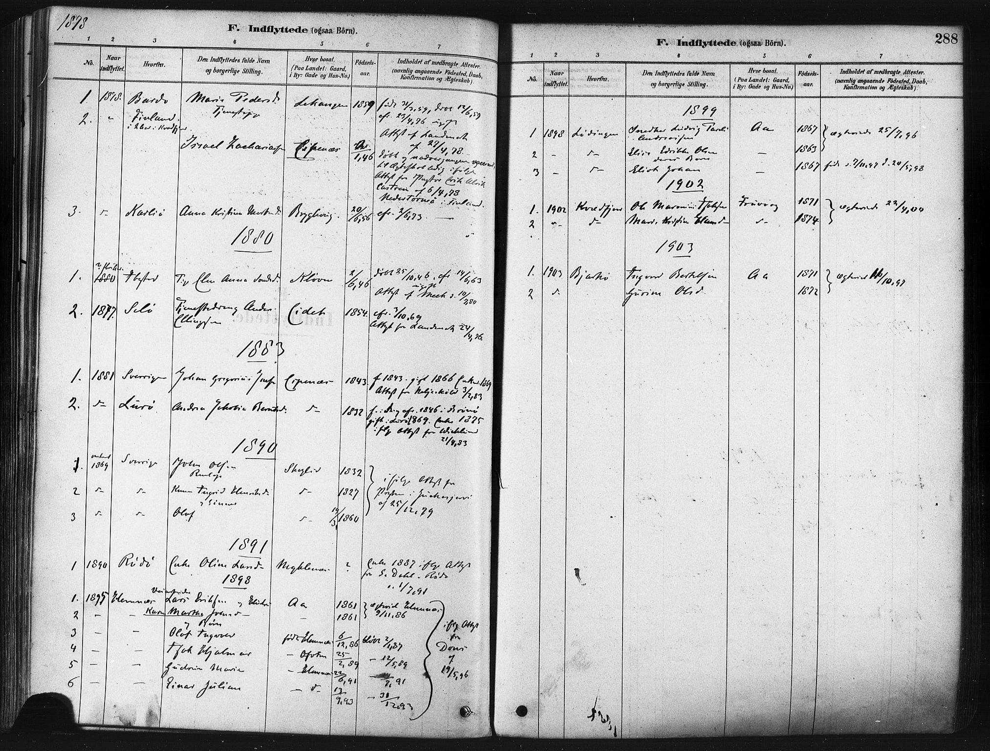 SATØ, Tranøy sokneprestkontor, I/Ia/Iaa/L0009kirke: Ministerialbok nr. 9, 1878-1904, s. 288