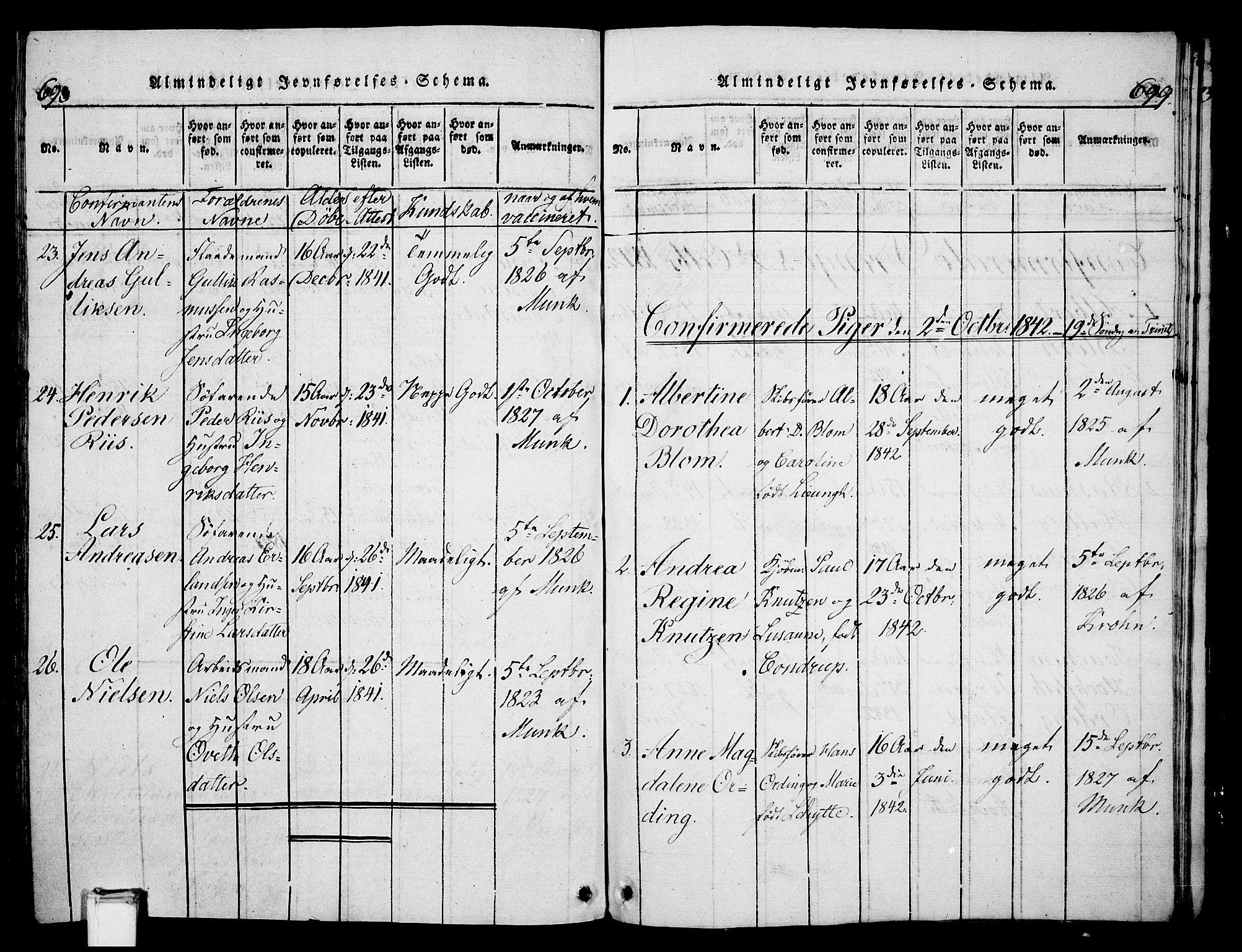 SAKO, Skien kirkebøker, G/Ga/L0002: Klokkerbok nr. 2, 1814-1842, s. 698-699