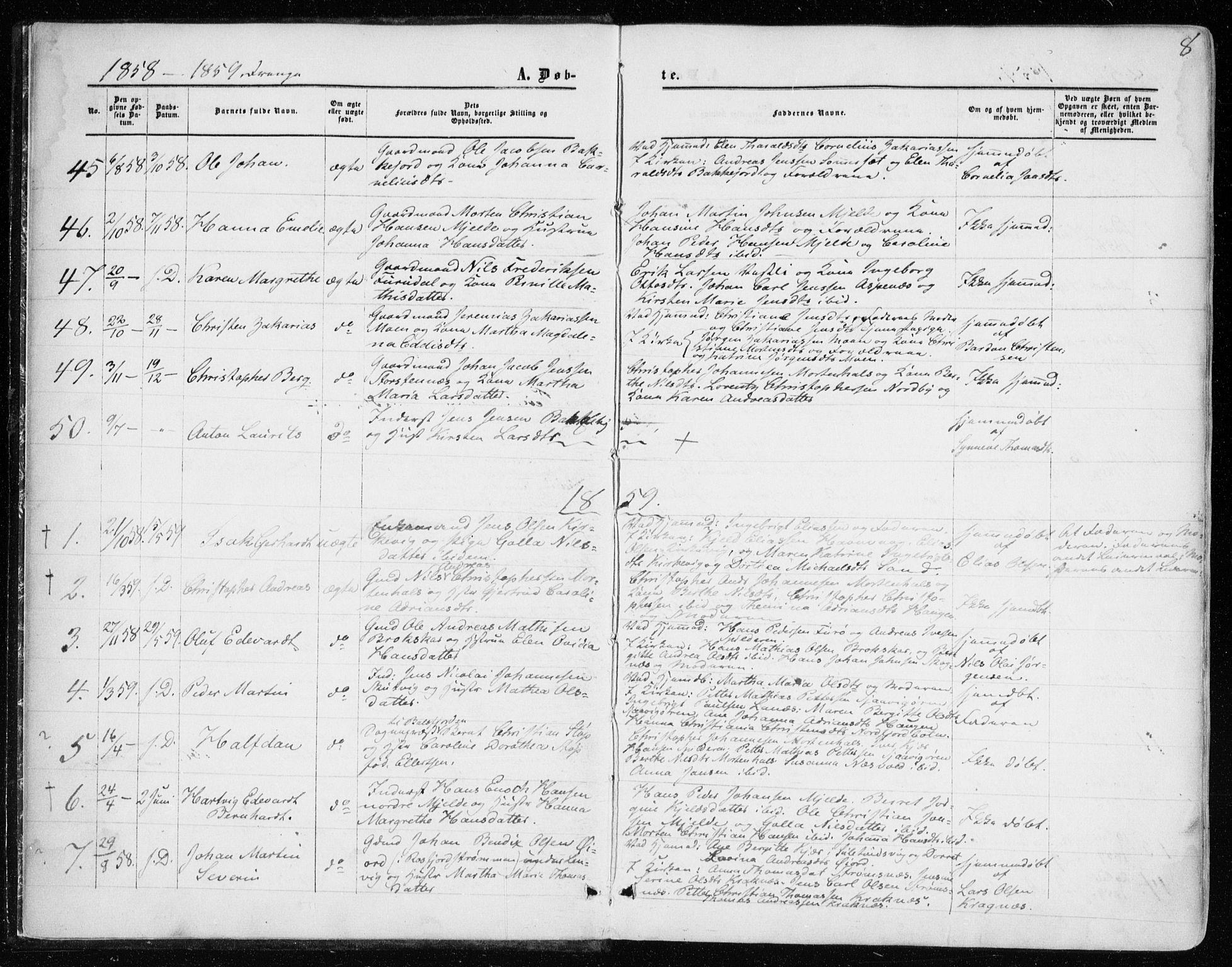 SATØ, Balsfjord sokneprestembete, Ministerialbok nr. 1, 1858-1870, s. 8