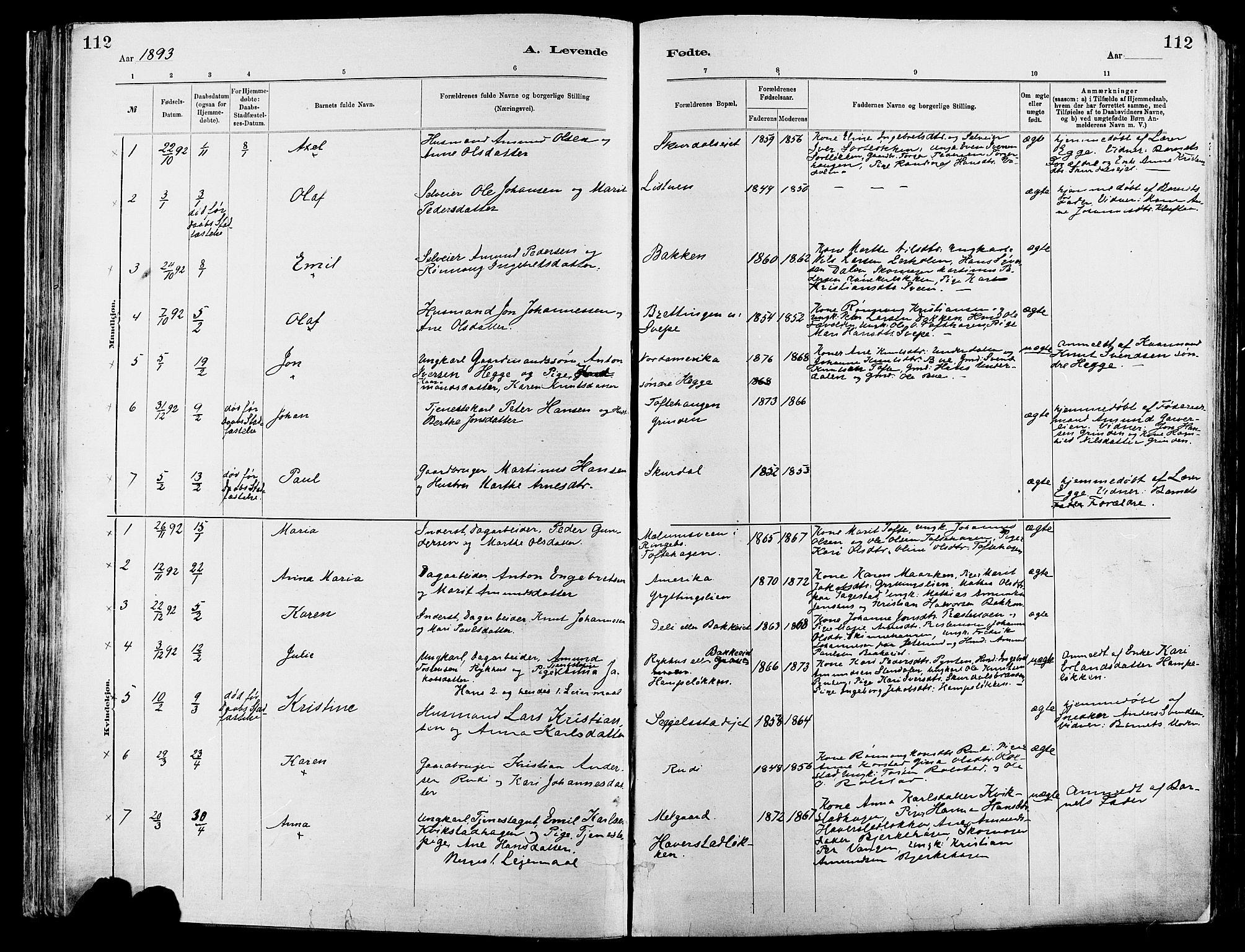 SAH, Sør-Fron prestekontor, H/Ha/Haa/L0003: Ministerialbok nr. 3, 1881-1897, s. 112