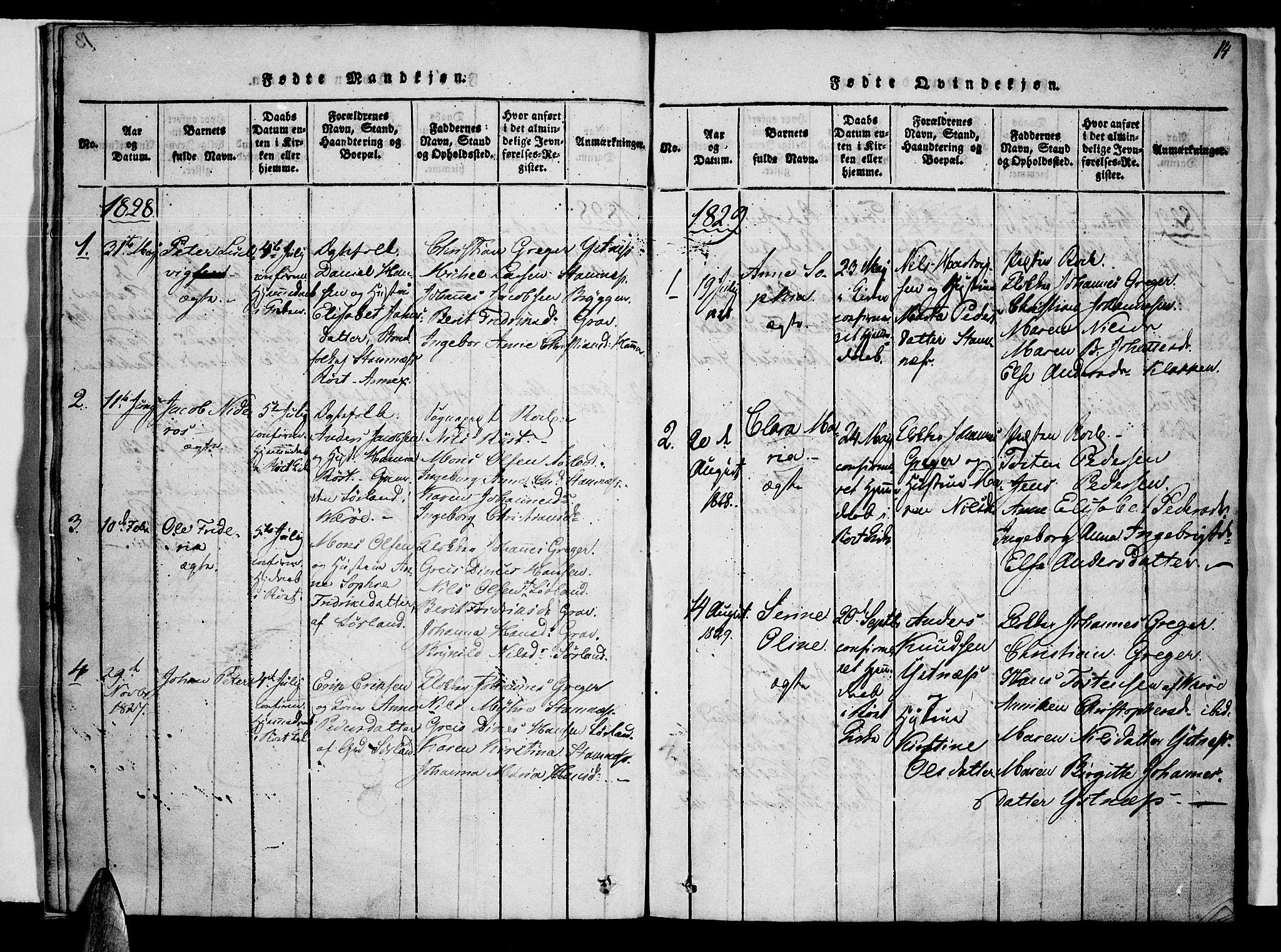 SAT, Ministerialprotokoller, klokkerbøker og fødselsregistre - Nordland, 807/L0120: Ministerialbok nr. 807A03, 1821-1848, s. 14