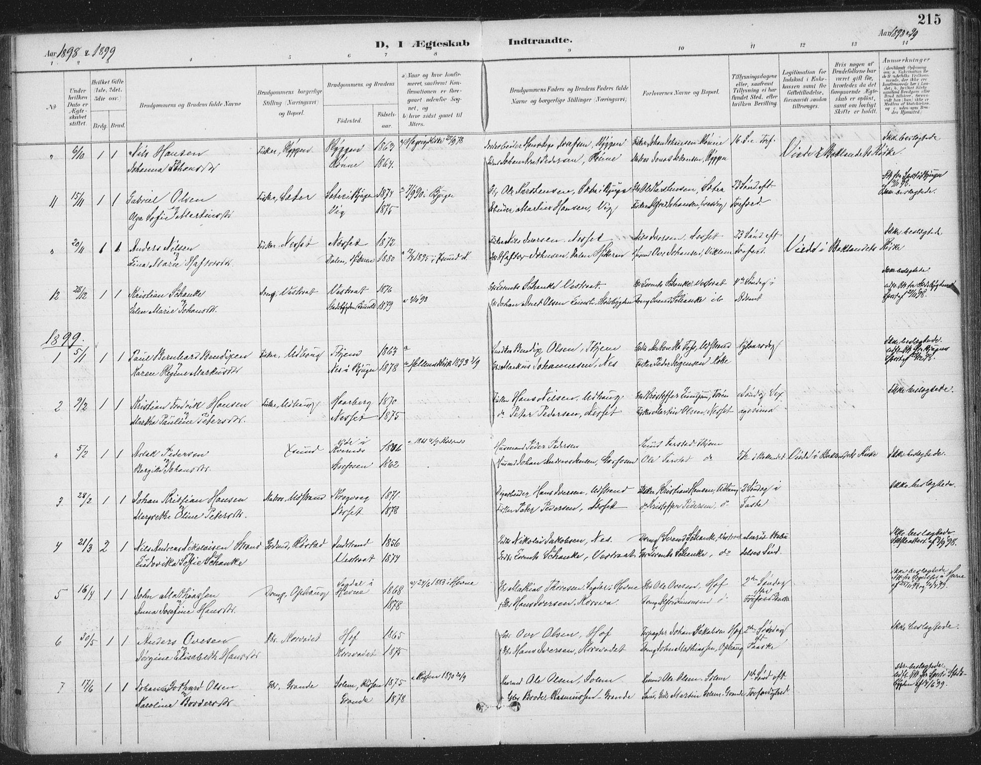 SAT, Ministerialprotokoller, klokkerbøker og fødselsregistre - Sør-Trøndelag, 659/L0743: Ministerialbok nr. 659A13, 1893-1910, s. 215