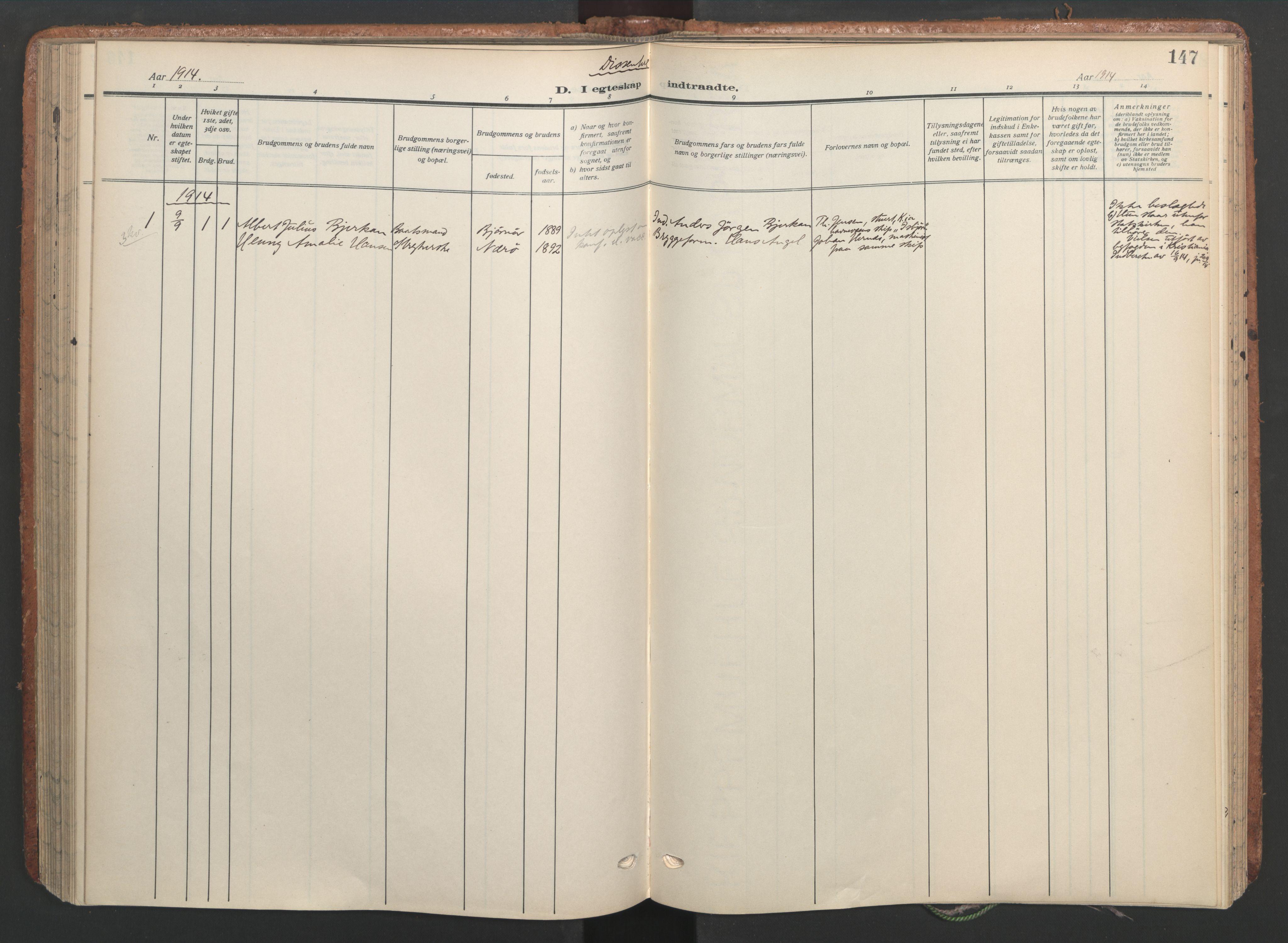 SAT, Ministerialprotokoller, klokkerbøker og fødselsregistre - Sør-Trøndelag, 656/L0694: Ministerialbok nr. 656A03, 1914-1931, s. 147