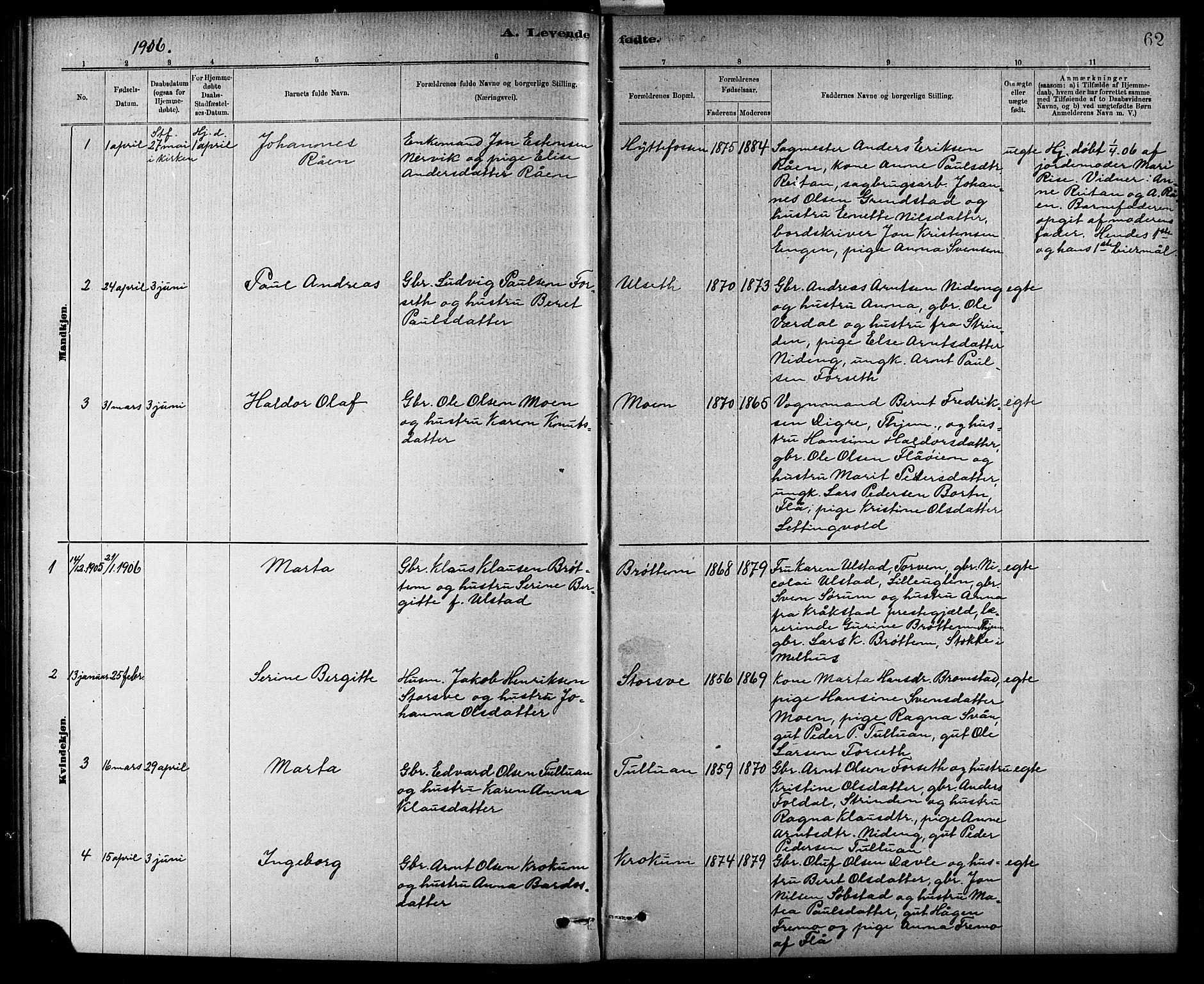 SAT, Ministerialprotokoller, klokkerbøker og fødselsregistre - Sør-Trøndelag, 618/L0452: Klokkerbok nr. 618C03, 1884-1906, s. 62