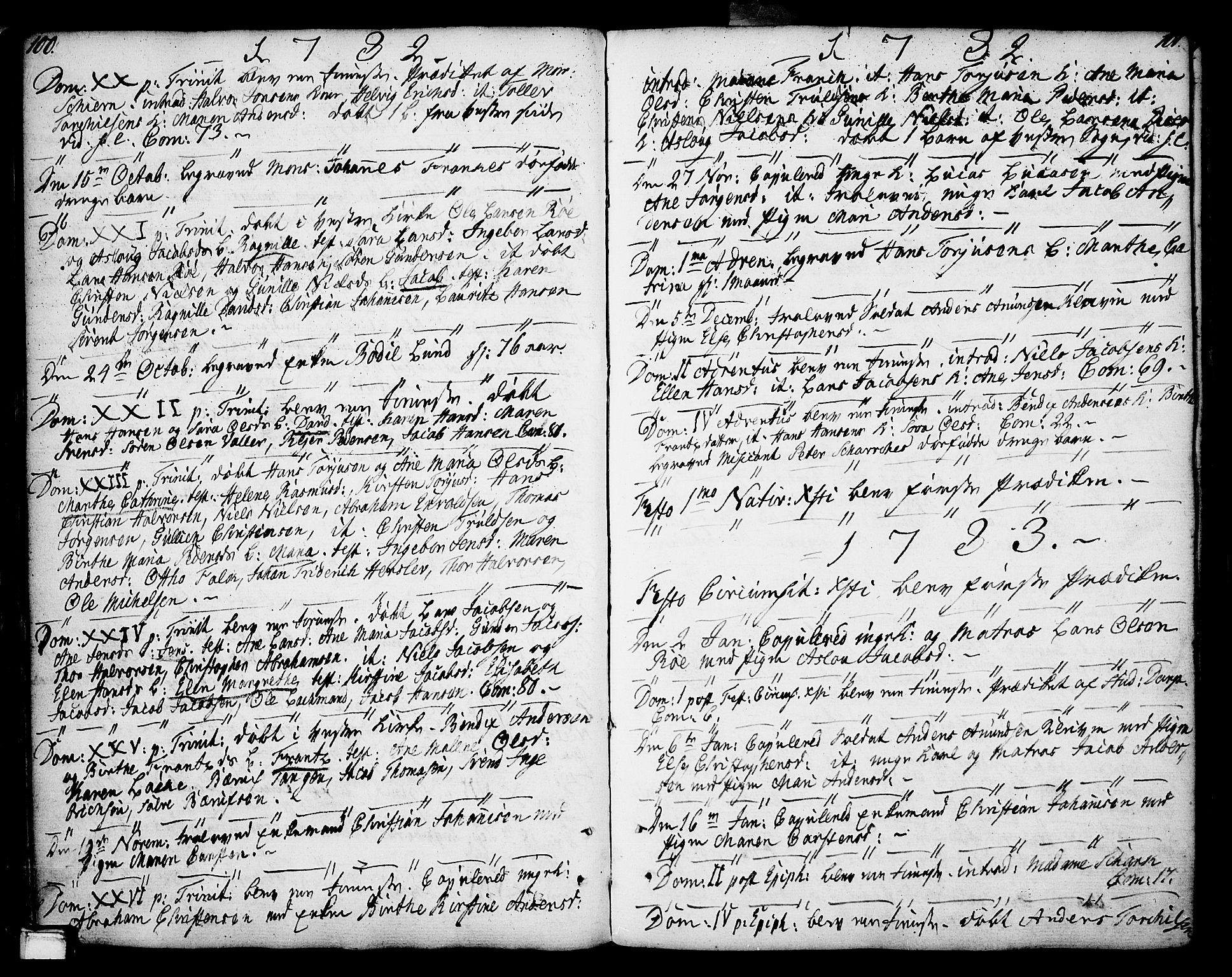 SAKO, Porsgrunn kirkebøker , F/Fa/L0002: Ministerialbok nr. 2, 1764-1814, s. 100-101