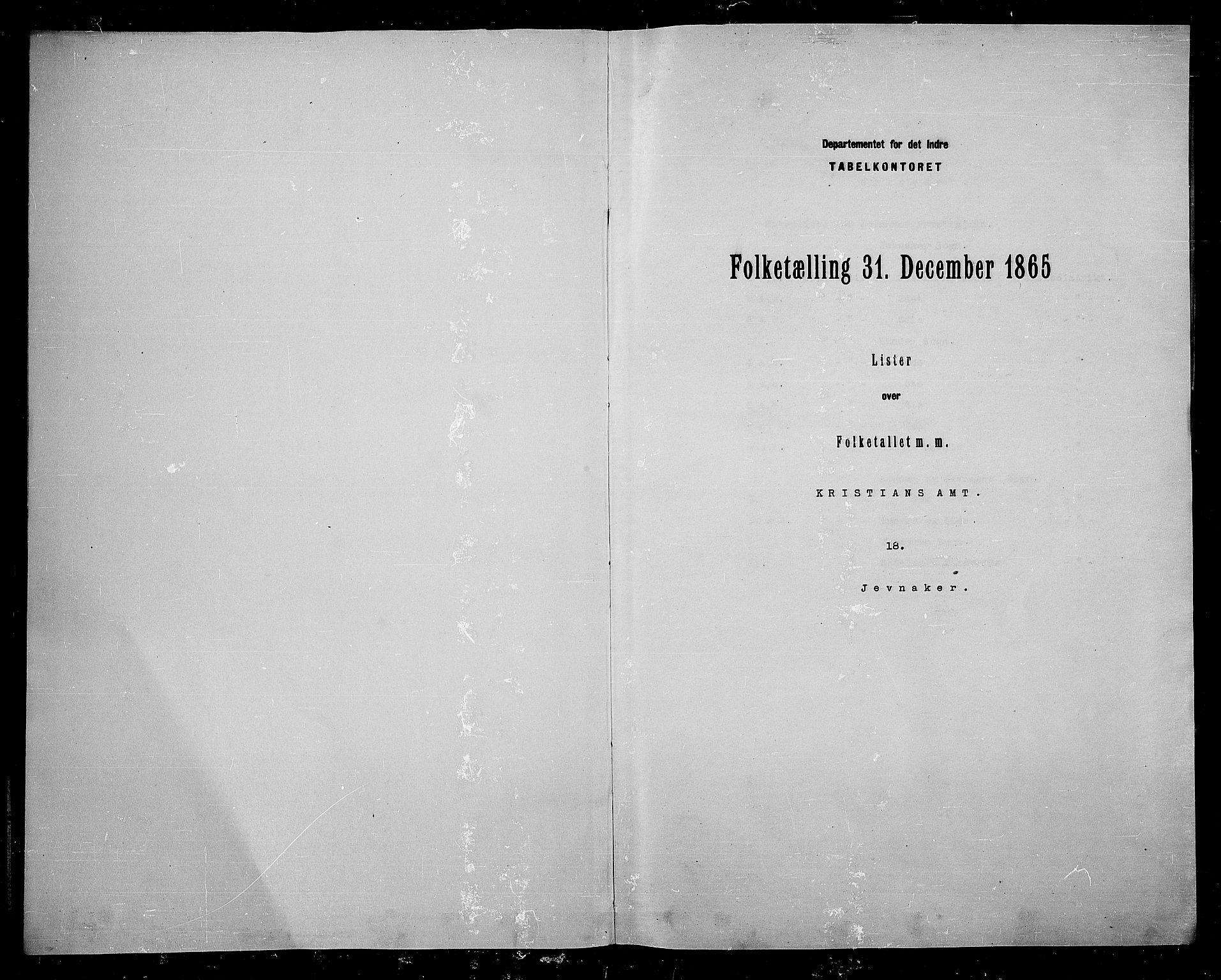 RA, Folketelling 1865 for 0532P Jevnaker prestegjeld, 1865, s. 3