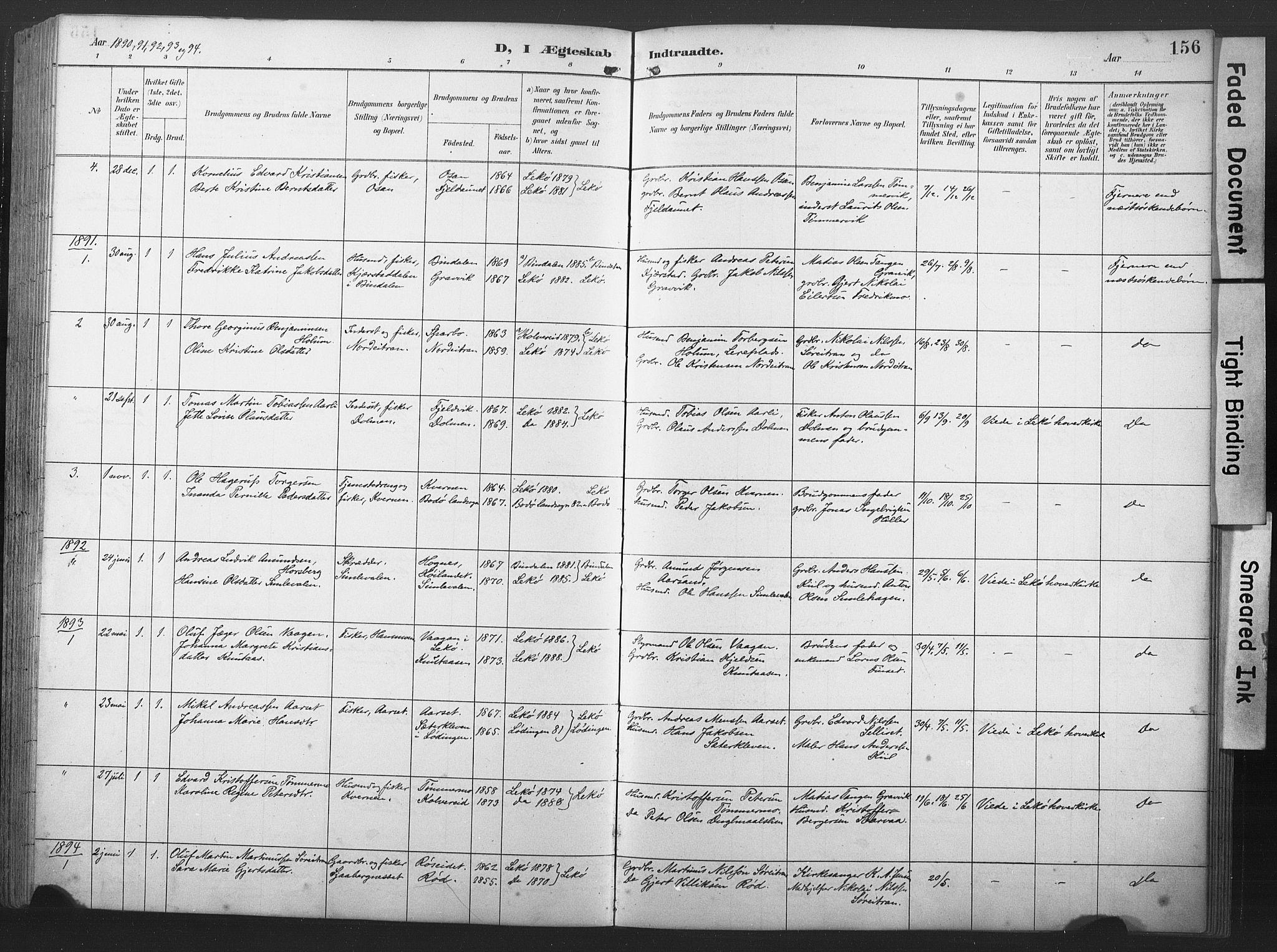 SAT, Ministerialprotokoller, klokkerbøker og fødselsregistre - Nord-Trøndelag, 789/L0706: Klokkerbok nr. 789C01, 1888-1931, s. 156