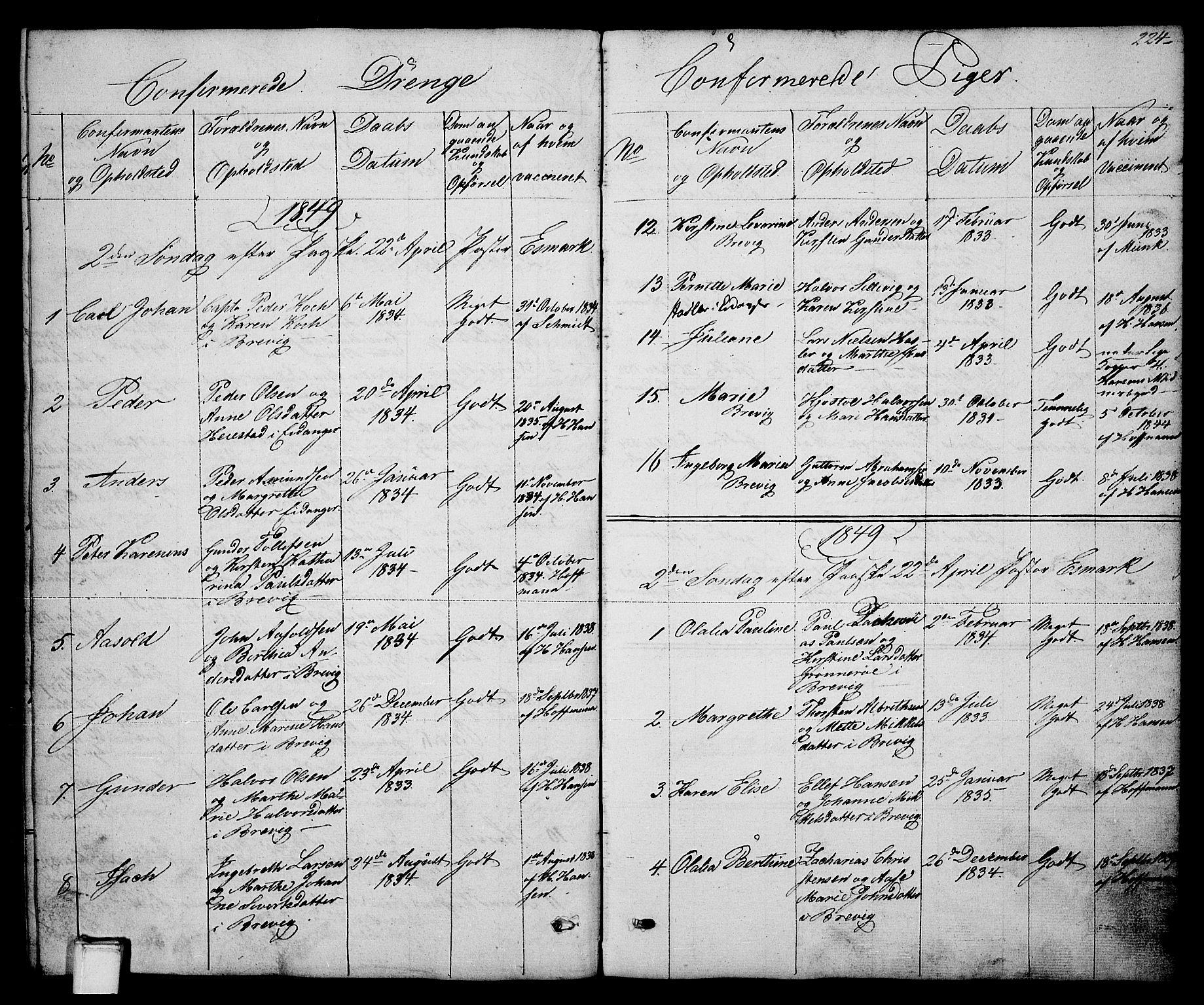SAKO, Brevik kirkebøker, G/Ga/L0002: Klokkerbok nr. 2, 1846-1865, s. 224