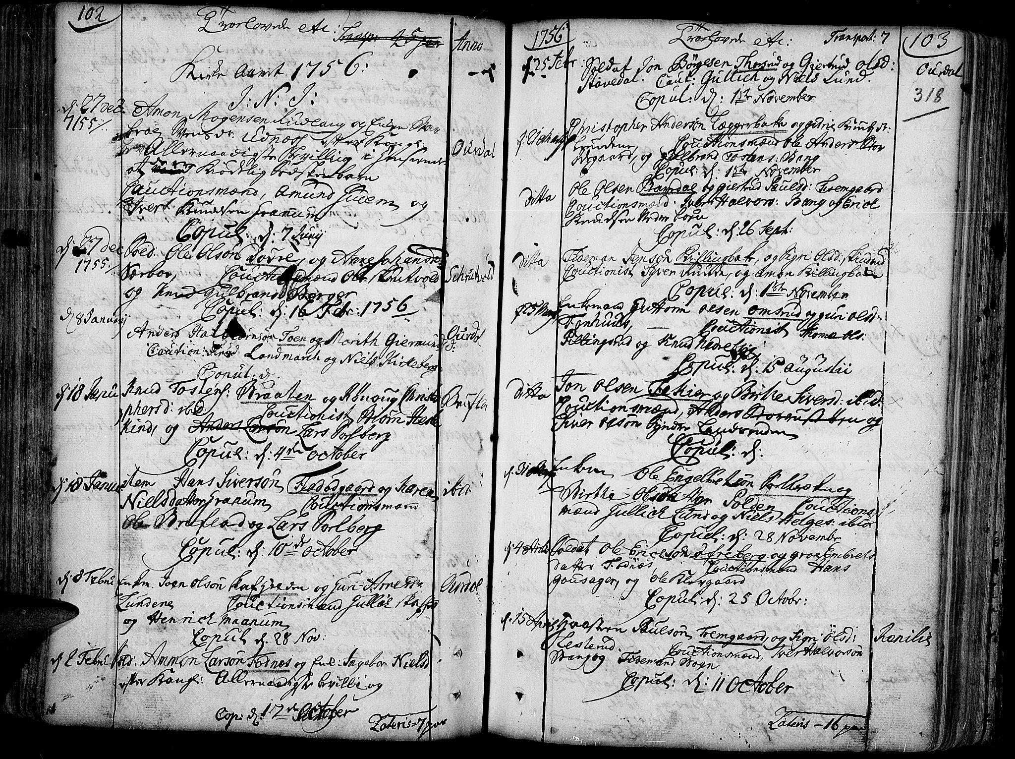 SAH, Aurdal prestekontor, Ministerialbok nr. 4, 1730-1762, s. 102-103