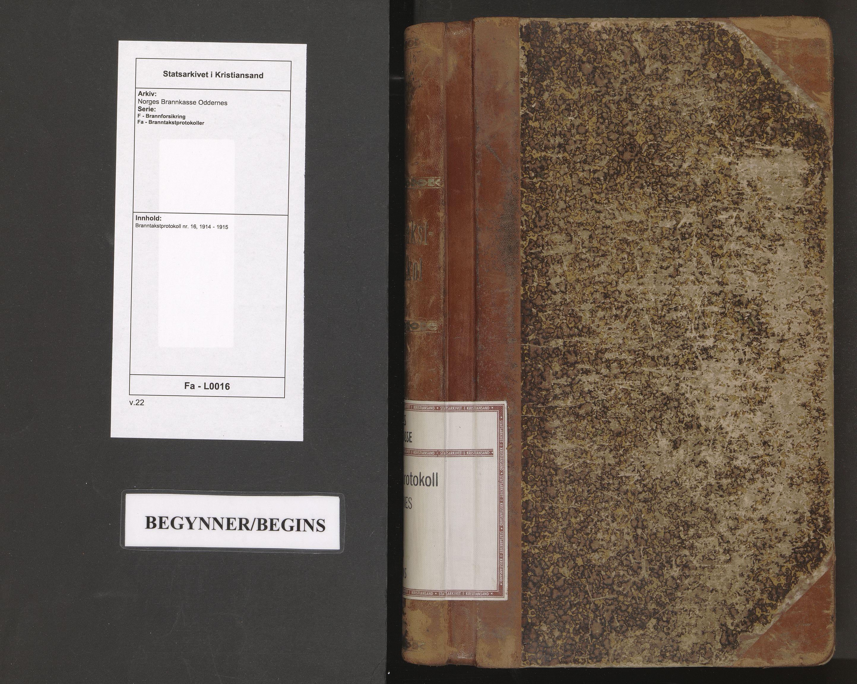 SAK, Norges Brannkasse Oddernes, F/Fa/L0016: Branntakstprotokoll nr. 16, 1914-1915