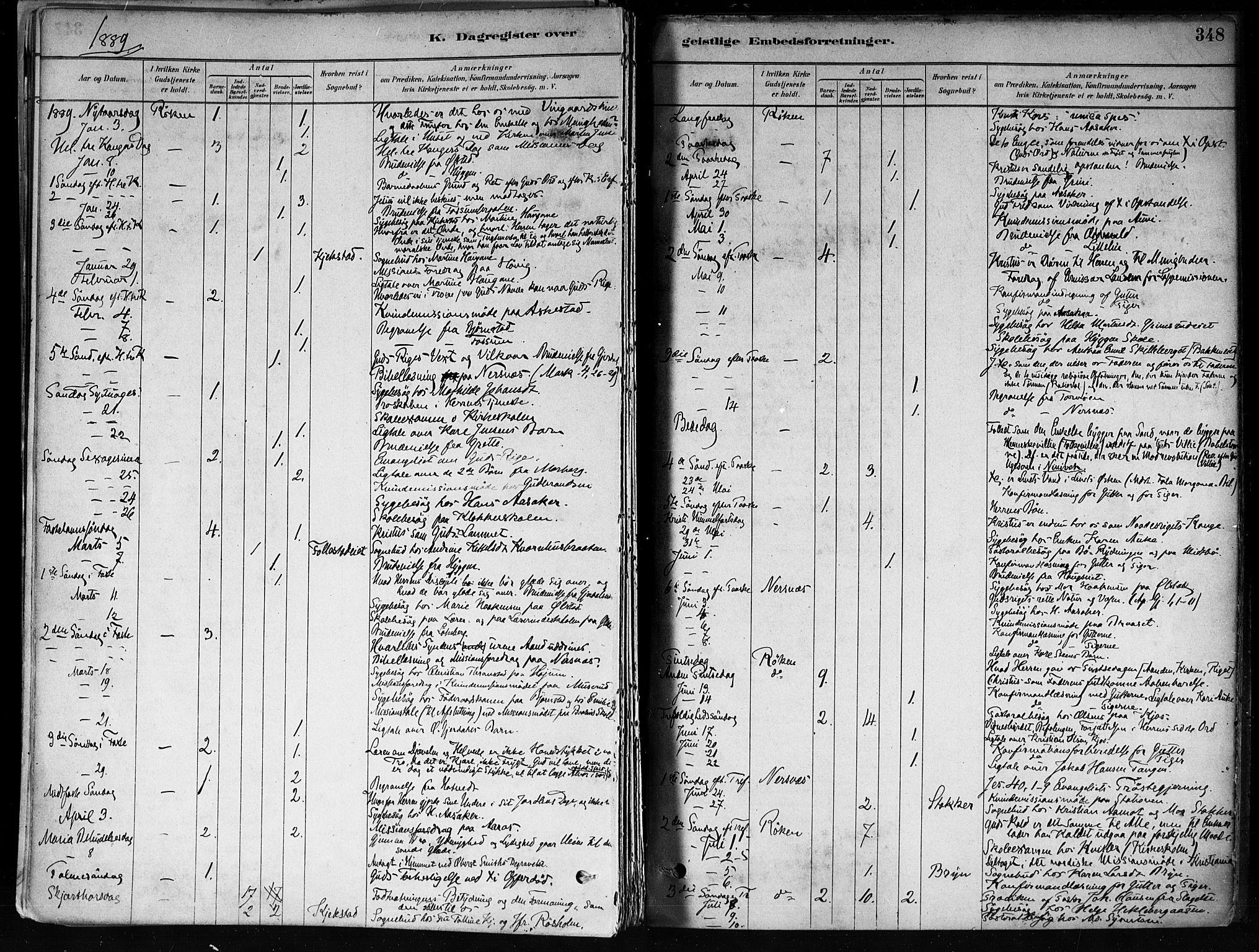 SAKO, Røyken kirkebøker, F/Fa/L0008: Ministerialbok nr. 8, 1880-1897, s. 348