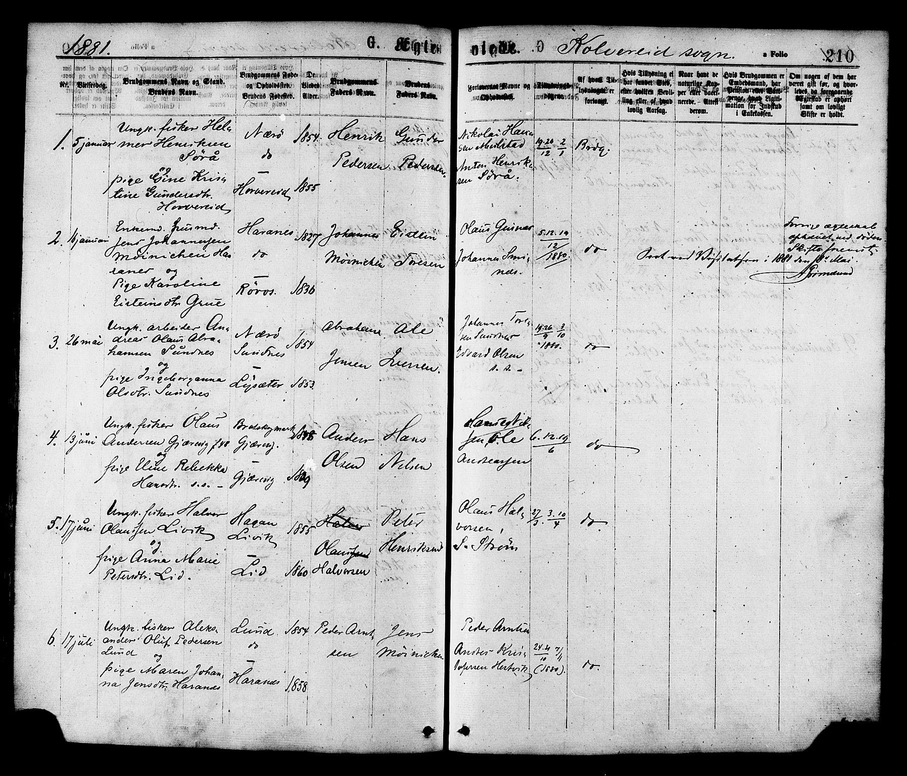 SAT, Ministerialprotokoller, klokkerbøker og fødselsregistre - Nord-Trøndelag, 780/L0642: Ministerialbok nr. 780A07 /1, 1874-1885, s. 210