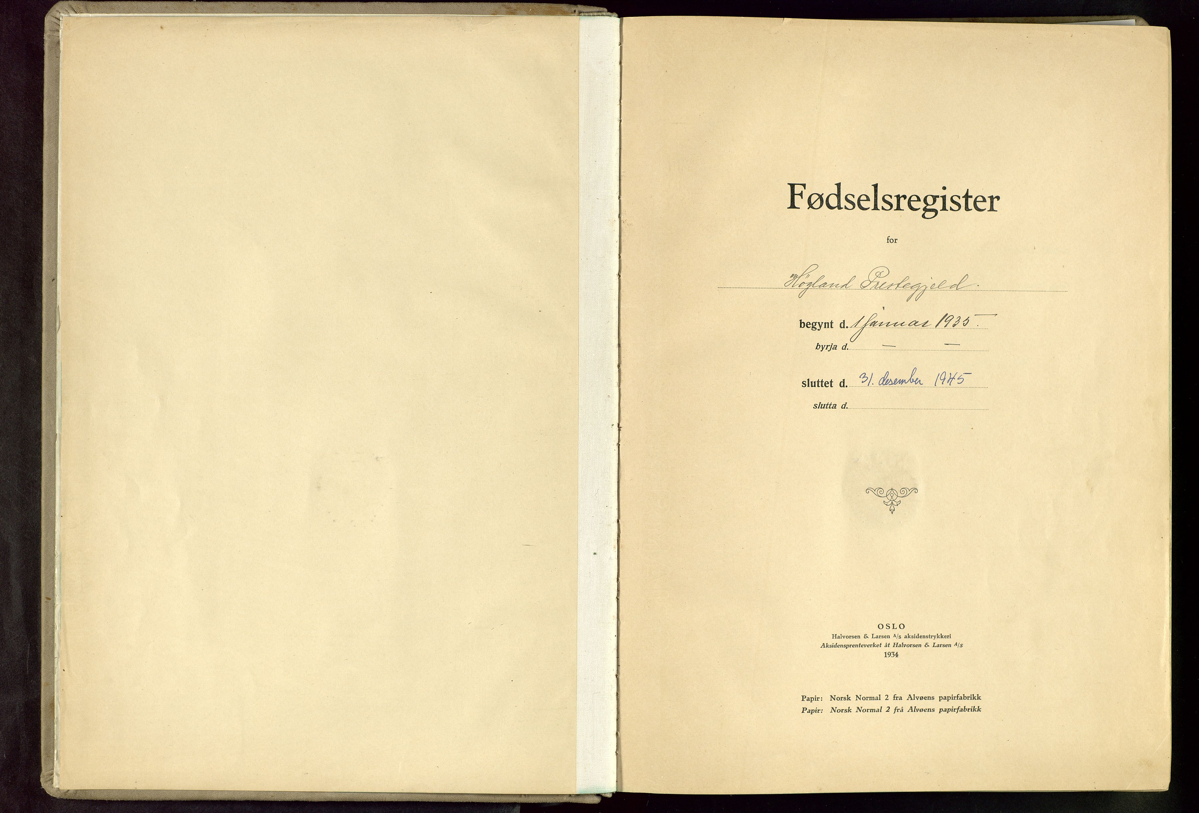 SAST, Høyland sokneprestkontor, O/L0003: Fødselsregister nr. 3, 1935-1945