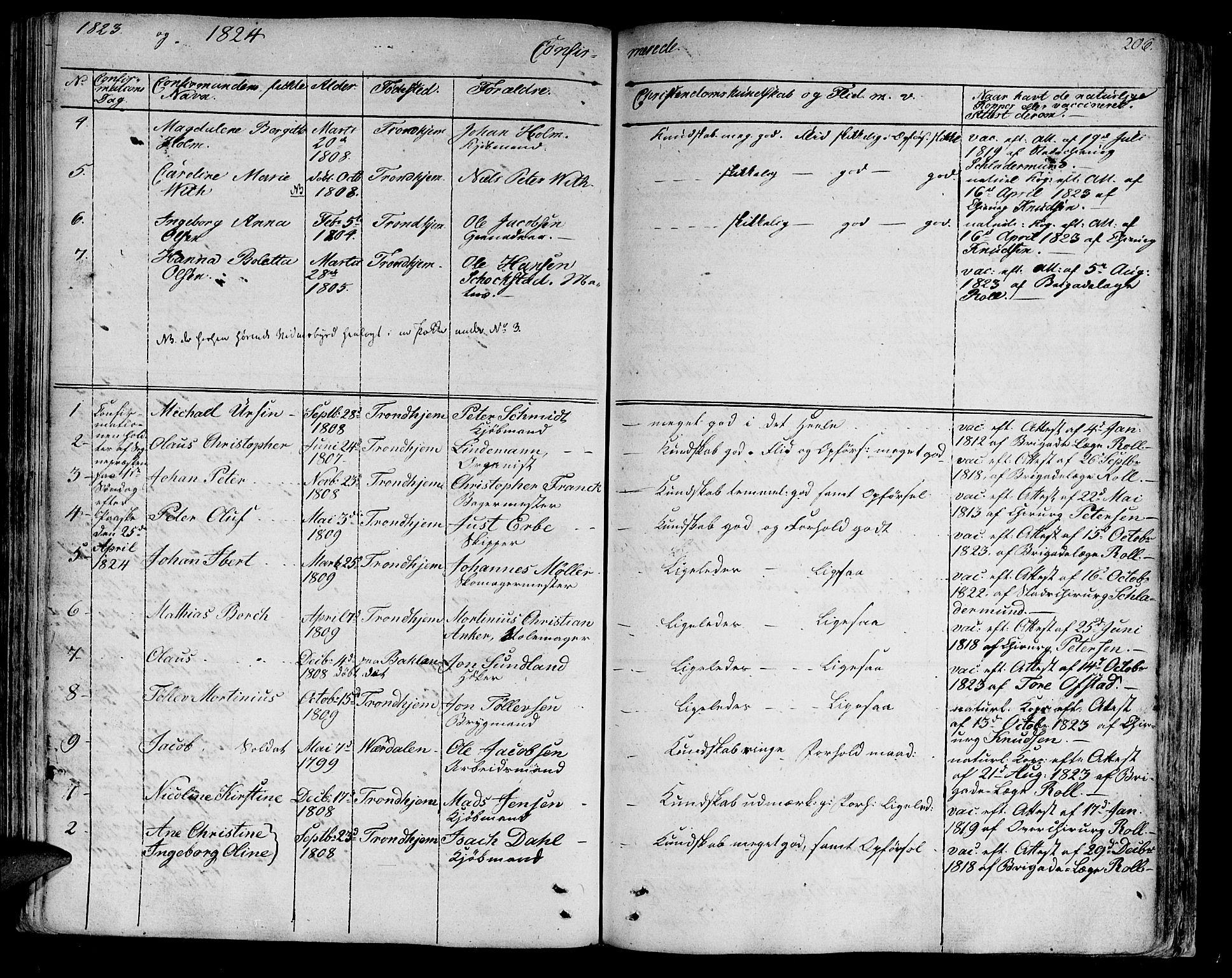 SAT, Ministerialprotokoller, klokkerbøker og fødselsregistre - Sør-Trøndelag, 602/L0108: Ministerialbok nr. 602A06, 1821-1839, s. 206