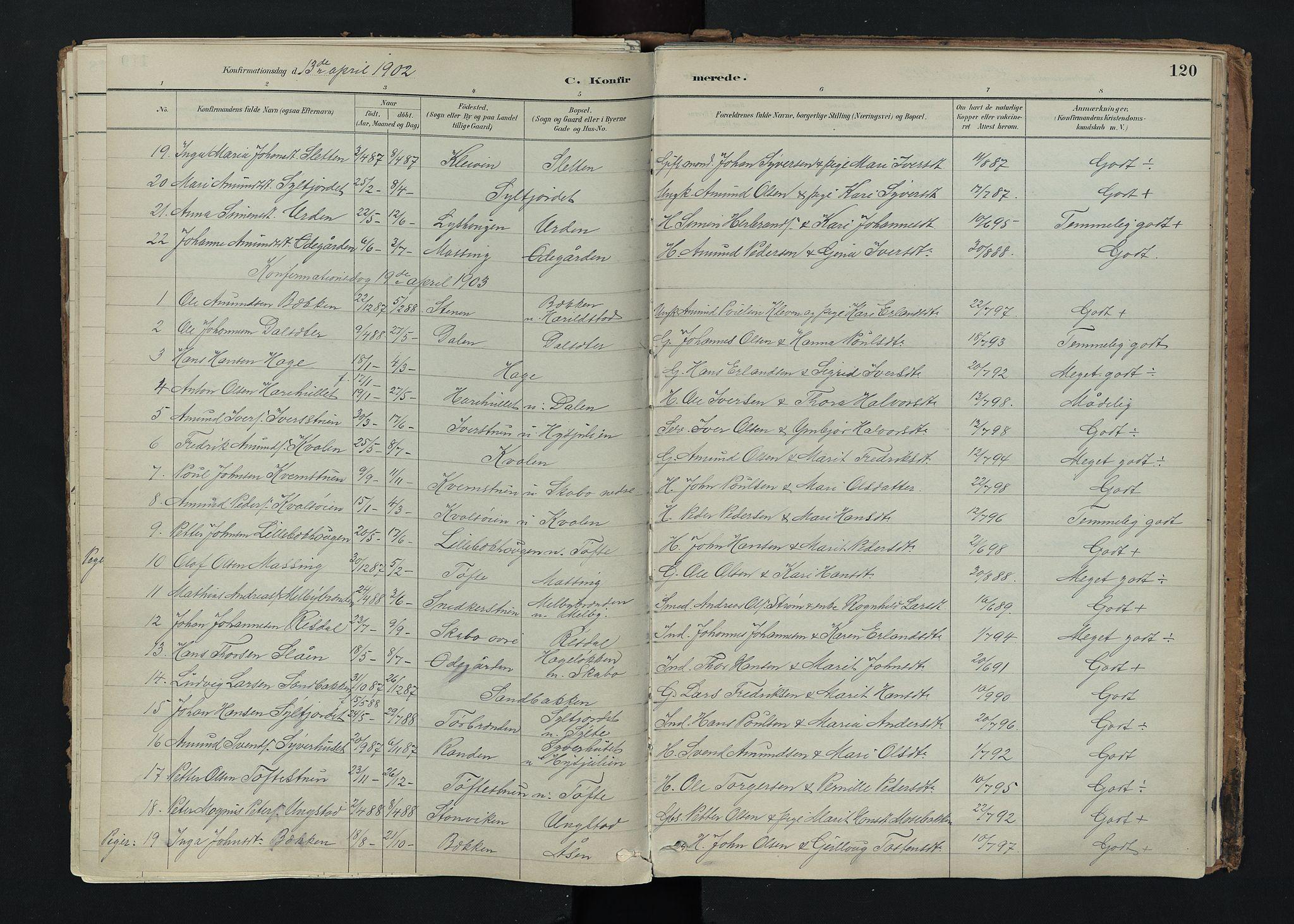 SAH, Nord-Fron prestekontor, Ministerialbok nr. 5, 1884-1914, s. 120
