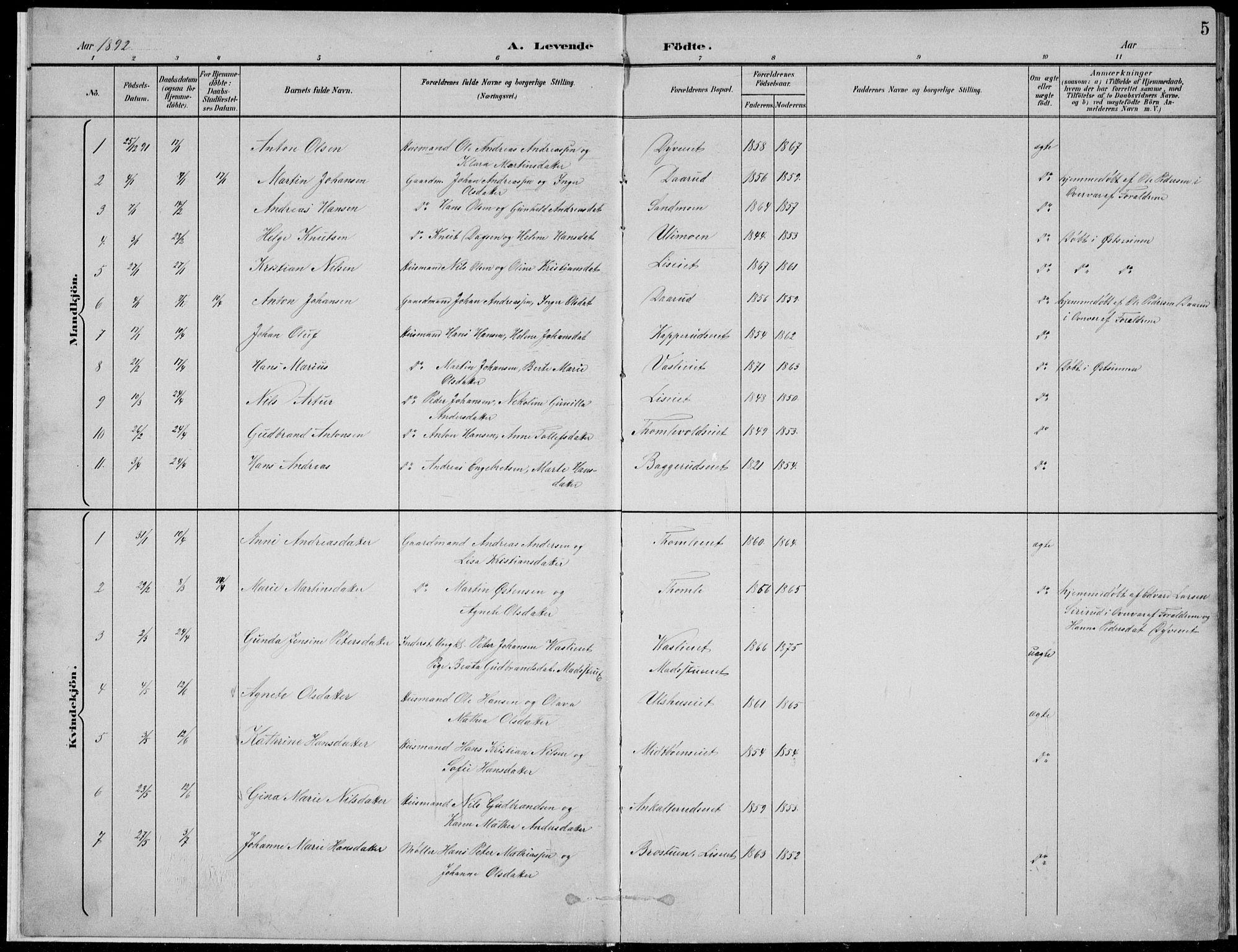 SAH, Nordre Land prestekontor, Klokkerbok nr. 13, 1891-1904, s. 5