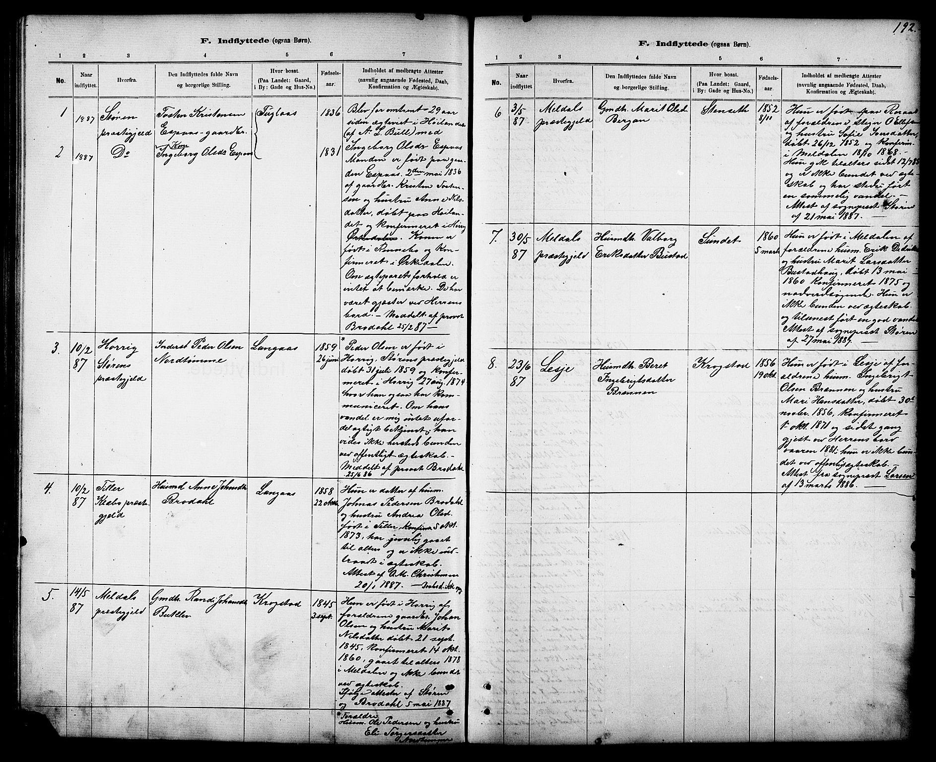SAT, Ministerialprotokoller, klokkerbøker og fødselsregistre - Sør-Trøndelag, 694/L1132: Klokkerbok nr. 694C04, 1887-1914, s. 192