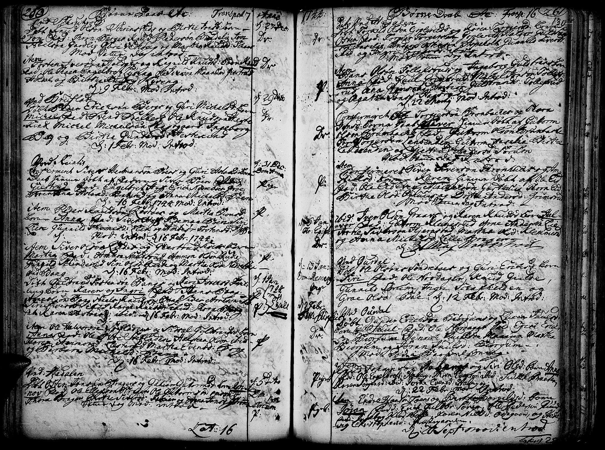 SAH, Aurdal prestekontor, Ministerialbok nr. 4, 1730-1762, s. 260-261