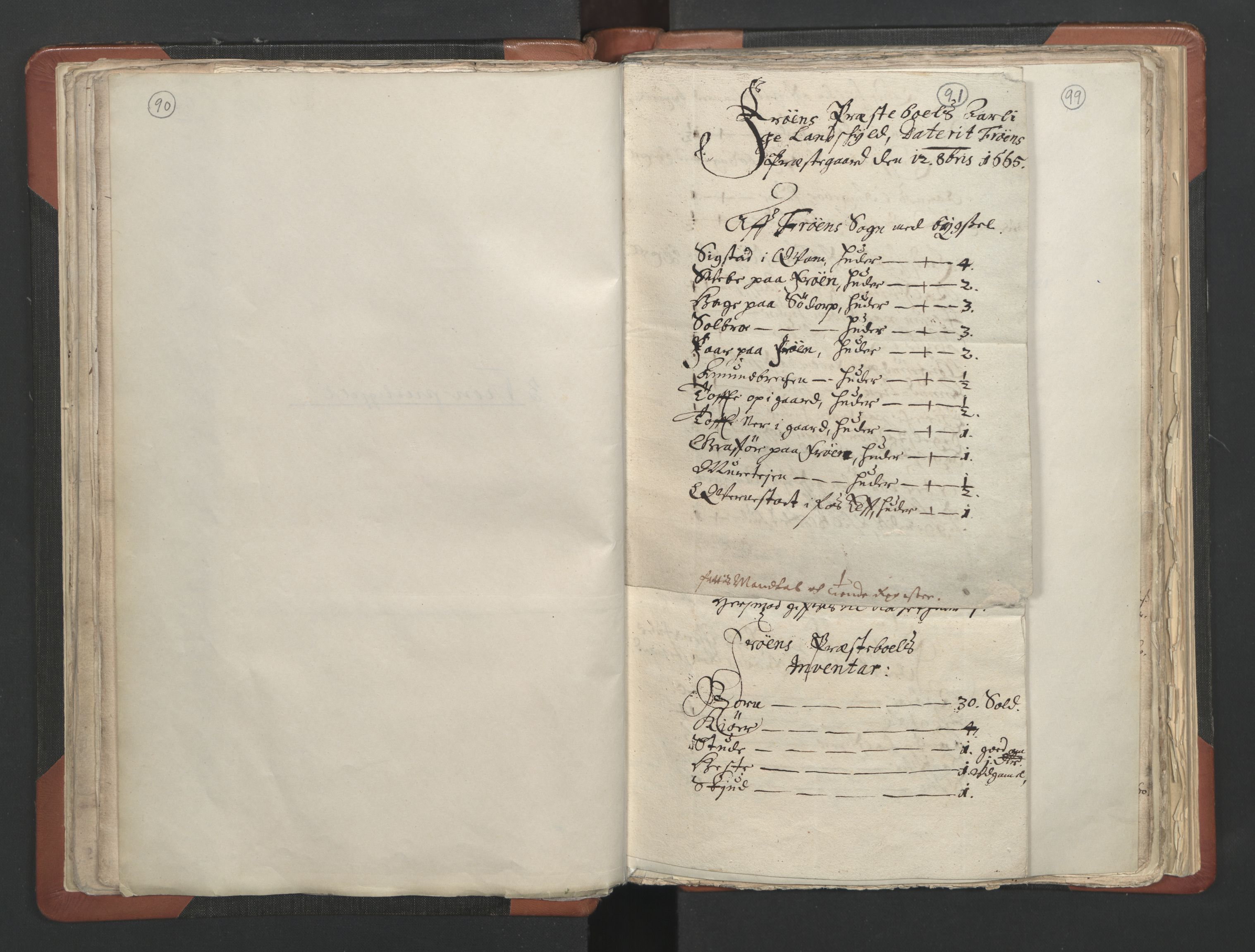 RA, Sogneprestenes manntall 1664-1666, nr. 6: Gudbrandsdal prosti, 1664-1666, s. 90-91