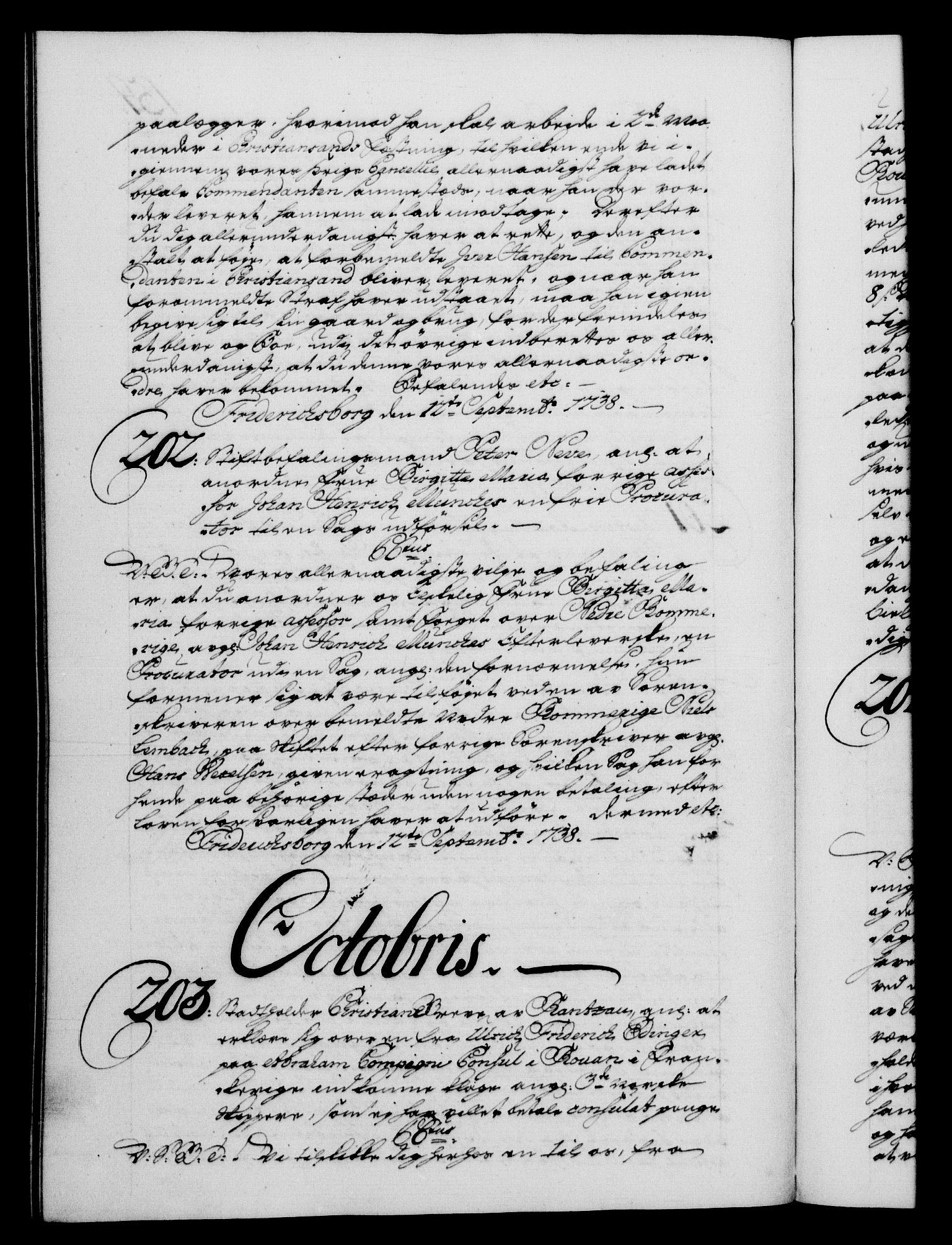RA, Danske Kanselli 1572-1799, F/Fc/Fca/Fcab/L0028: Norske tegnelser, 1738-1740, s. 154b