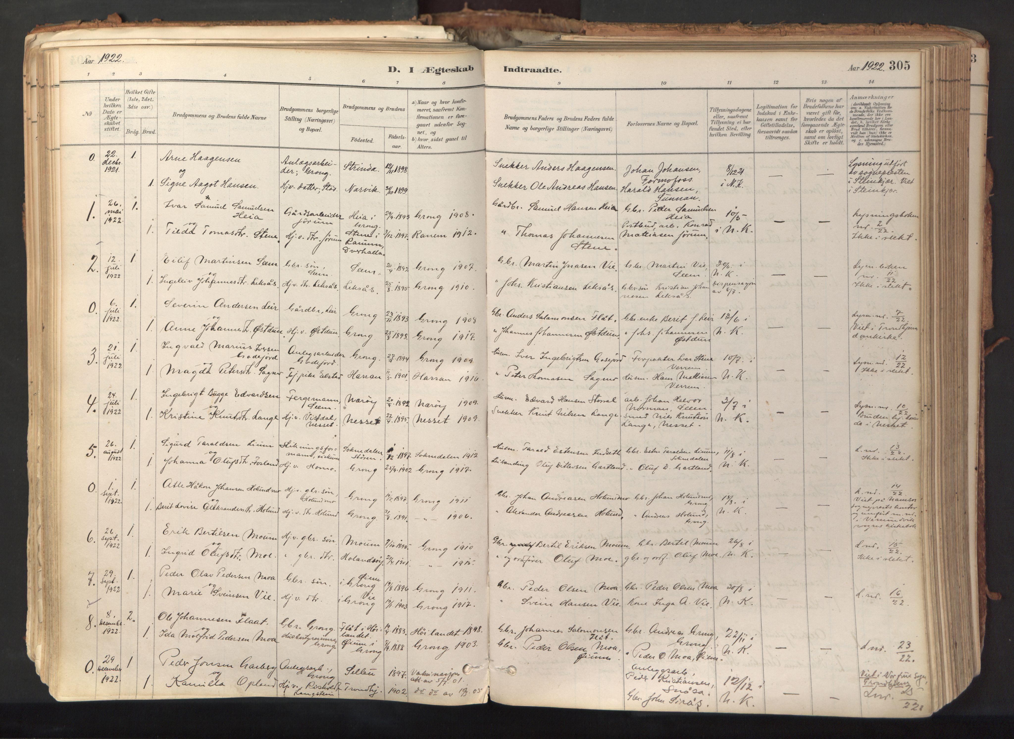 SAT, Ministerialprotokoller, klokkerbøker og fødselsregistre - Nord-Trøndelag, 758/L0519: Ministerialbok nr. 758A04, 1880-1926, s. 305