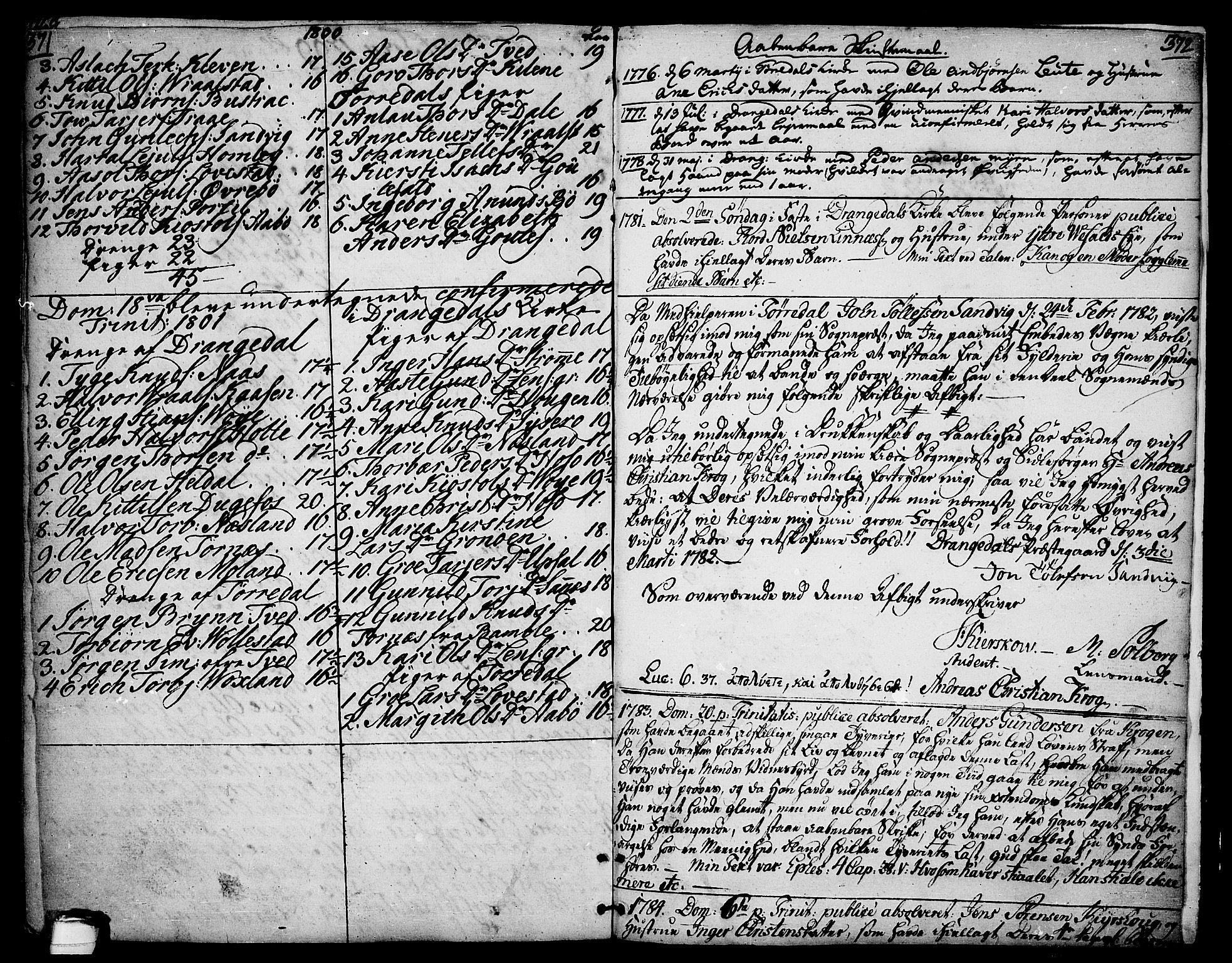 SAKO, Drangedal kirkebøker, F/Fa/L0003: Ministerialbok nr. 3, 1768-1814, s. 371-372
