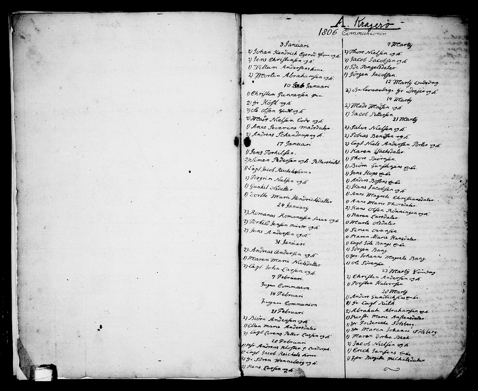 SAKO, Kragerø kirkebøker, G/Ga/L0001: Klokkerbok nr. 1 /1, 1806-1811, s. 2-3