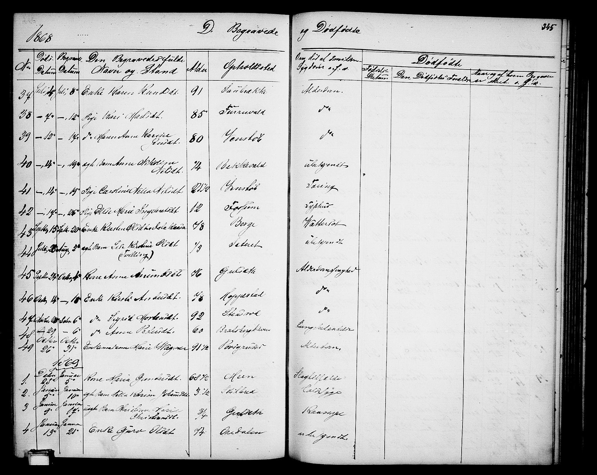 SAKO, Gjerpen kirkebøker, G/Ga/L0001: Klokkerbok nr. I 1, 1864-1882, s. 345