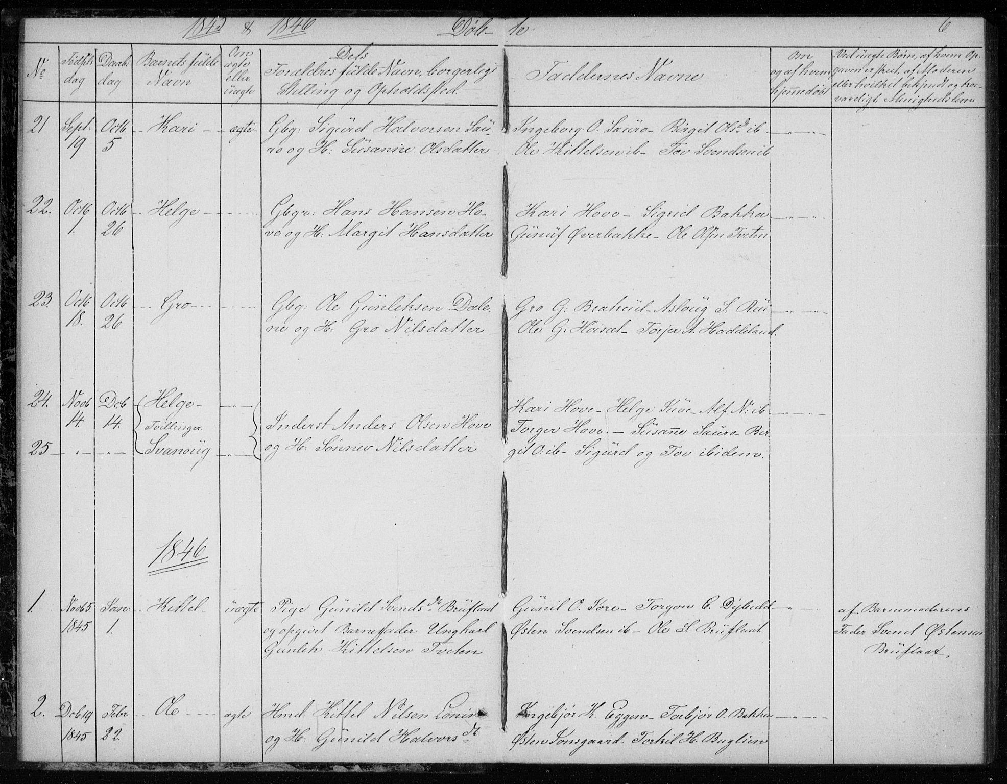 SAKO, Gransherad kirkebøker, F/Fb/L0003: Ministerialbok nr. II 3, 1844-1859, s. 6