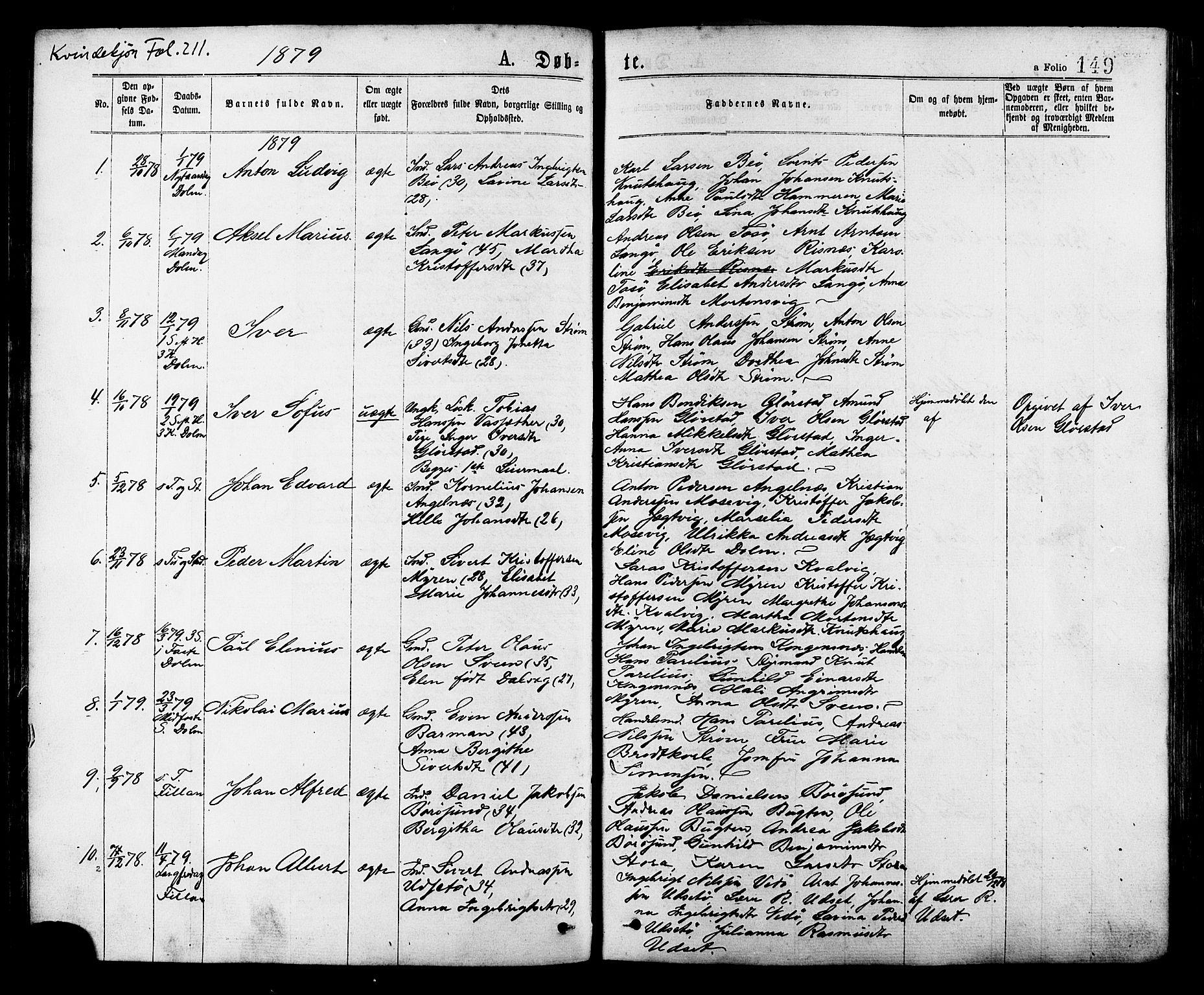 SAT, Ministerialprotokoller, klokkerbøker og fødselsregistre - Sør-Trøndelag, 634/L0532: Ministerialbok nr. 634A08, 1871-1881, s. 149