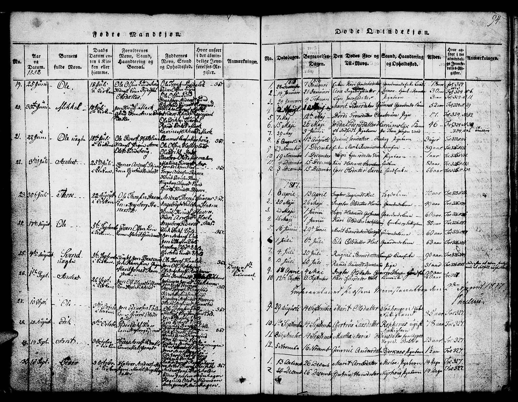 SAT, Ministerialprotokoller, klokkerbøker og fødselsregistre - Sør-Trøndelag, 674/L0874: Klokkerbok nr. 674C01, 1816-1860, s. 94
