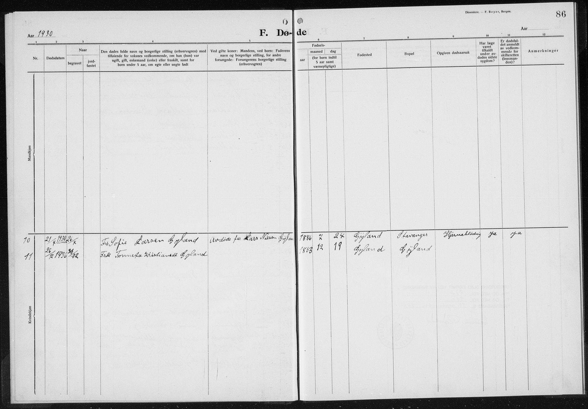 SAK, Baptistmenigheten i Gyland, F/Fa/L0001: Dissenterprotokoll nr. F 1, 1902-1937, s. 86