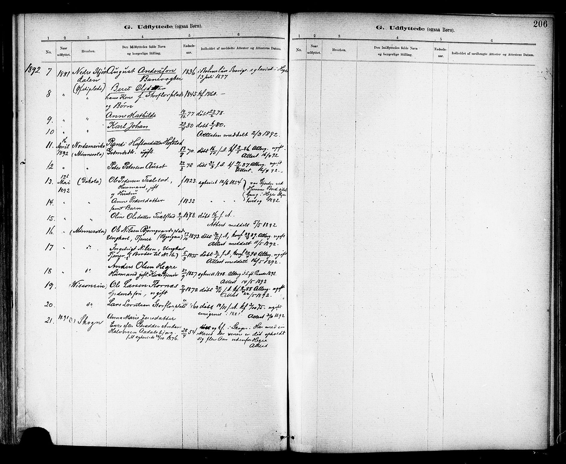 SAT, Ministerialprotokoller, klokkerbøker og fødselsregistre - Nord-Trøndelag, 703/L0030: Ministerialbok nr. 703A03, 1880-1892, s. 206