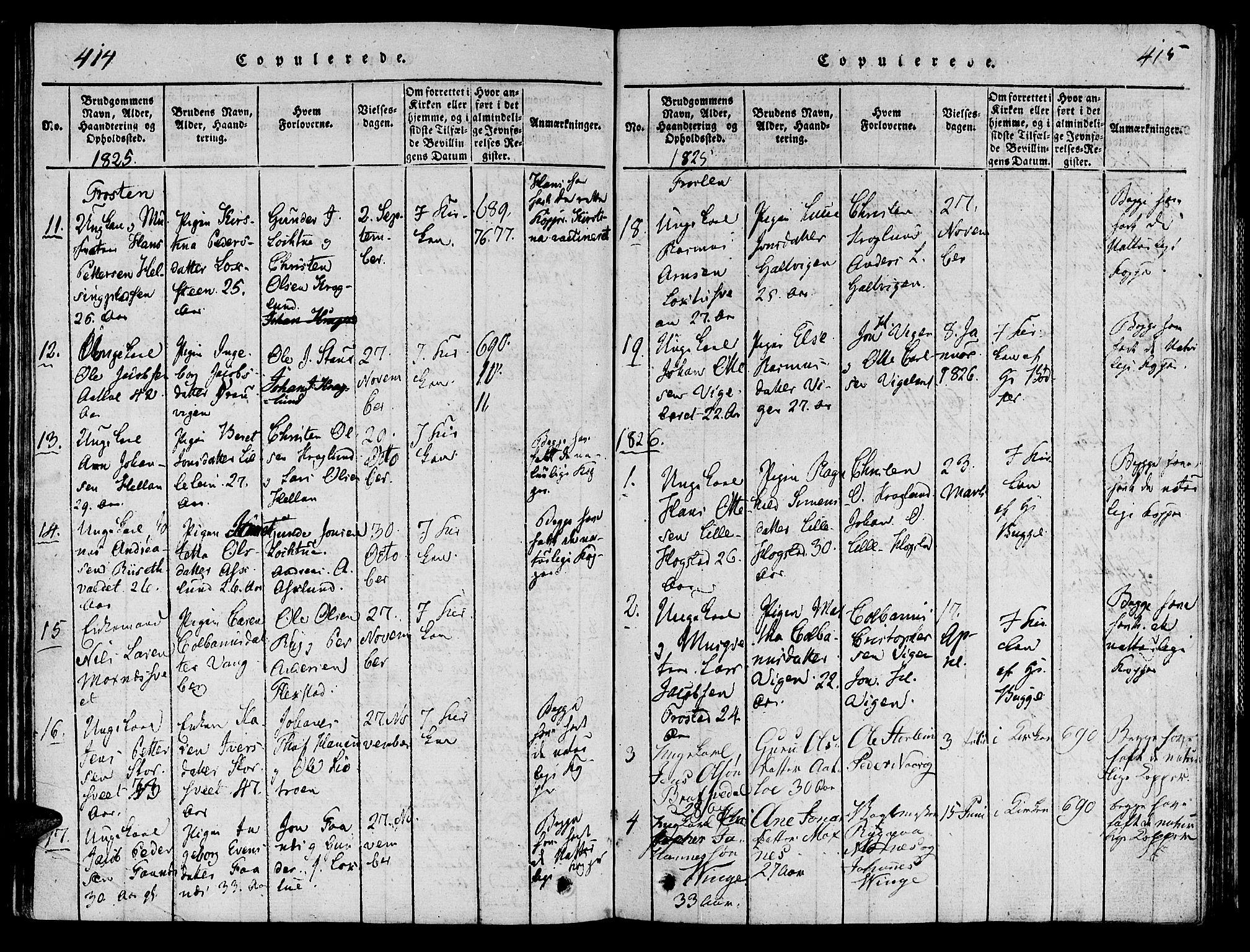 SAT, Ministerialprotokoller, klokkerbøker og fødselsregistre - Nord-Trøndelag, 713/L0112: Ministerialbok nr. 713A04 /1, 1817-1827, s. 414-415